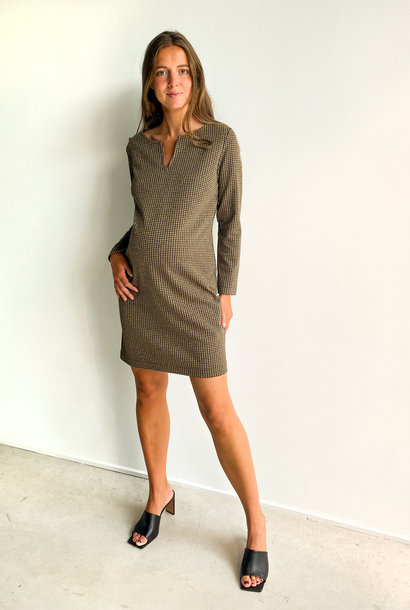 Slim tunic long sleeves - black pied de poule