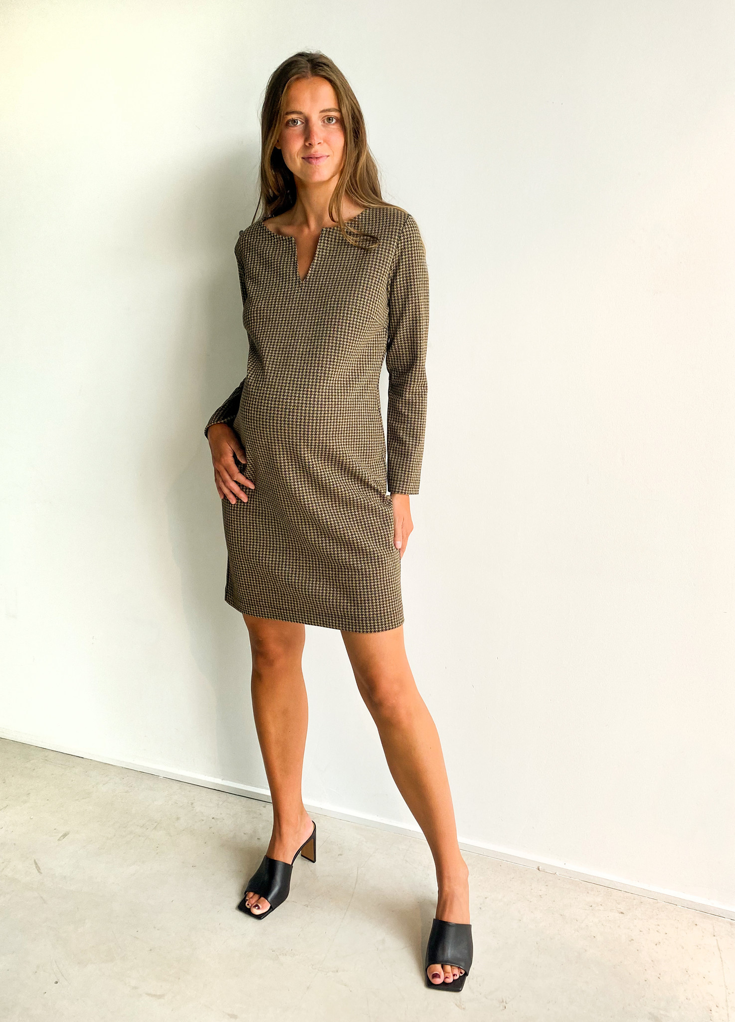 Slim tunic long sleeves - black pied de poule-1