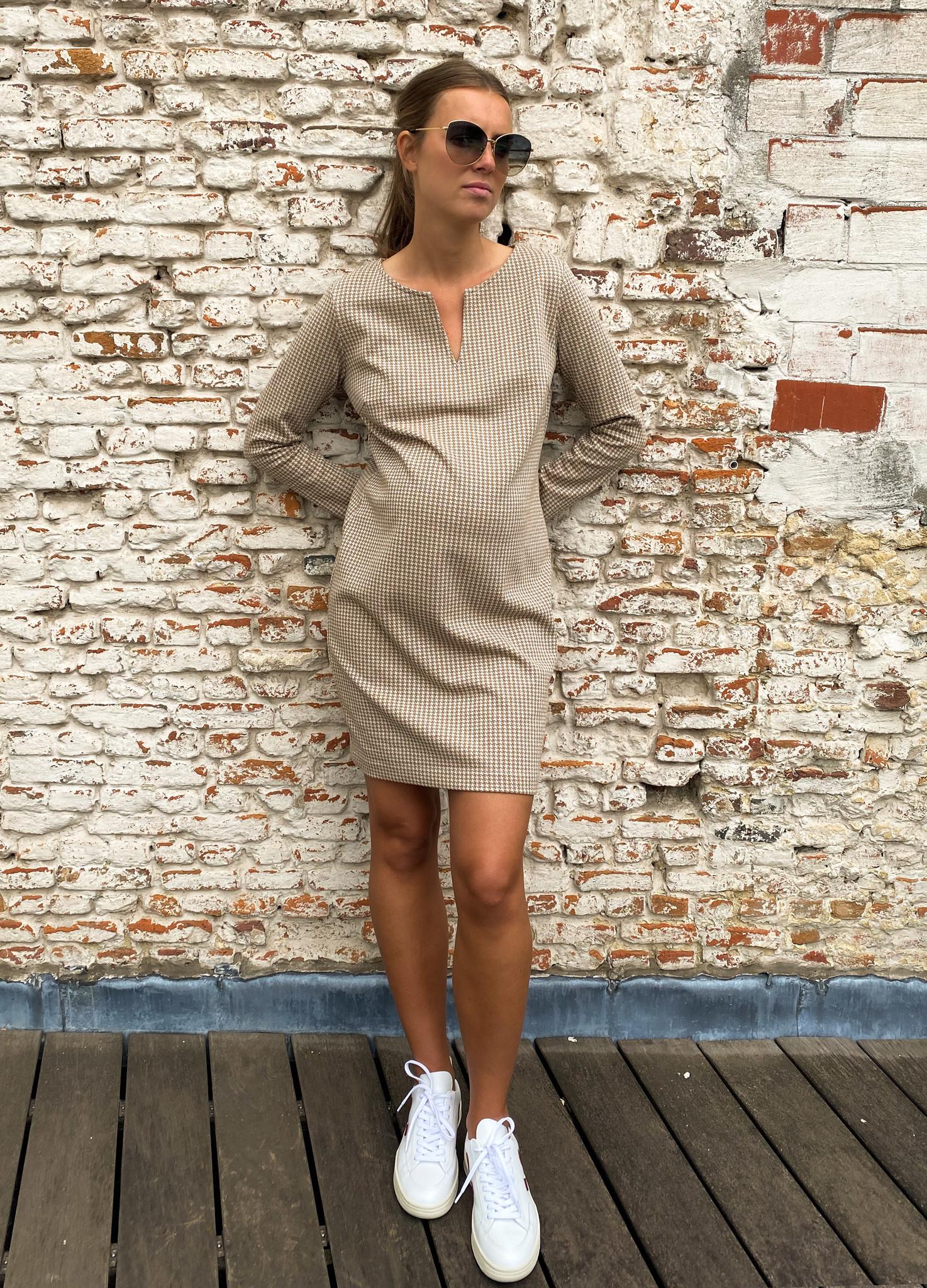 Slim tunic long sleeves - cream pied de poule-1