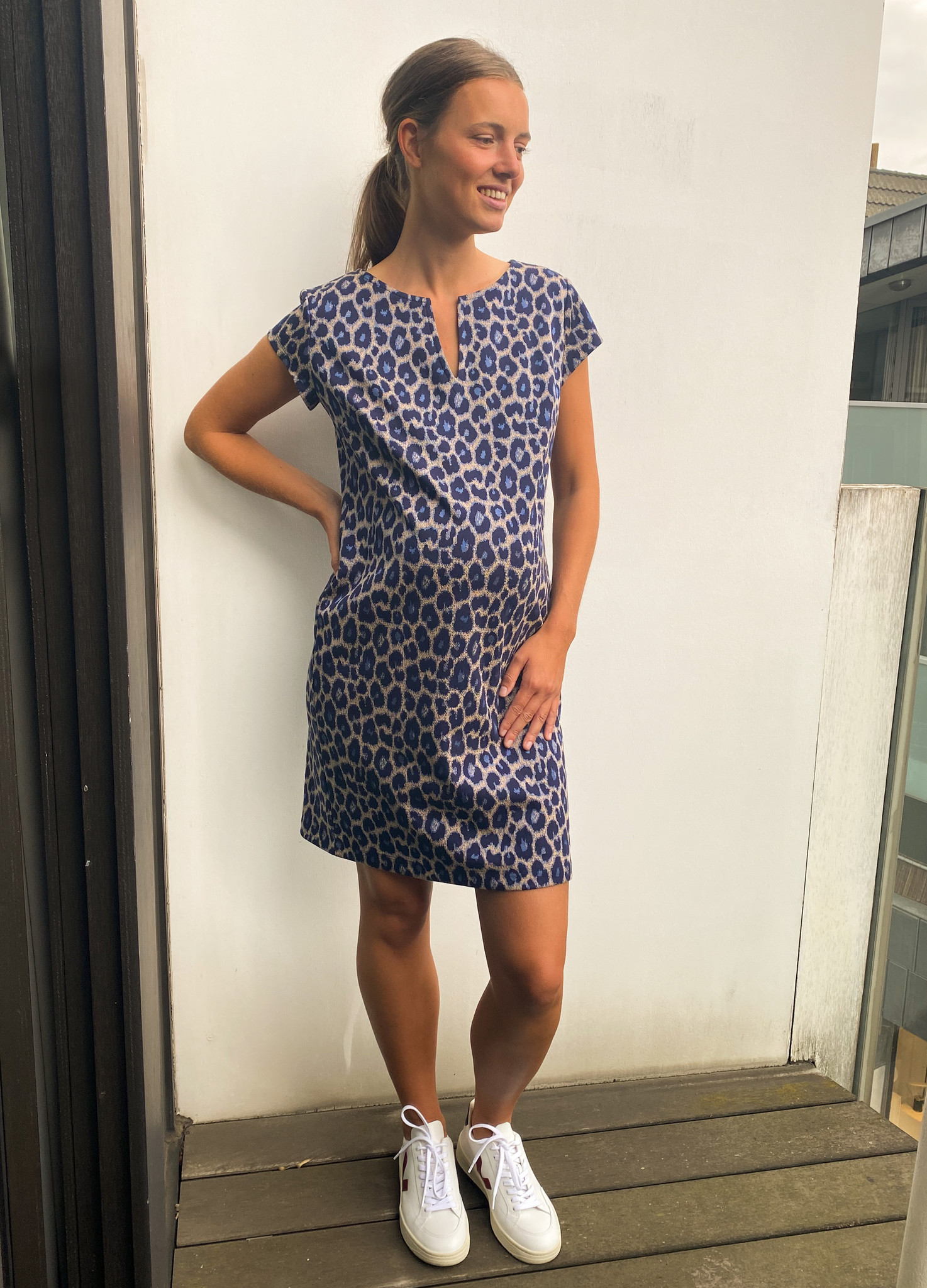 Slim tunic short sleeves - navy animal-3