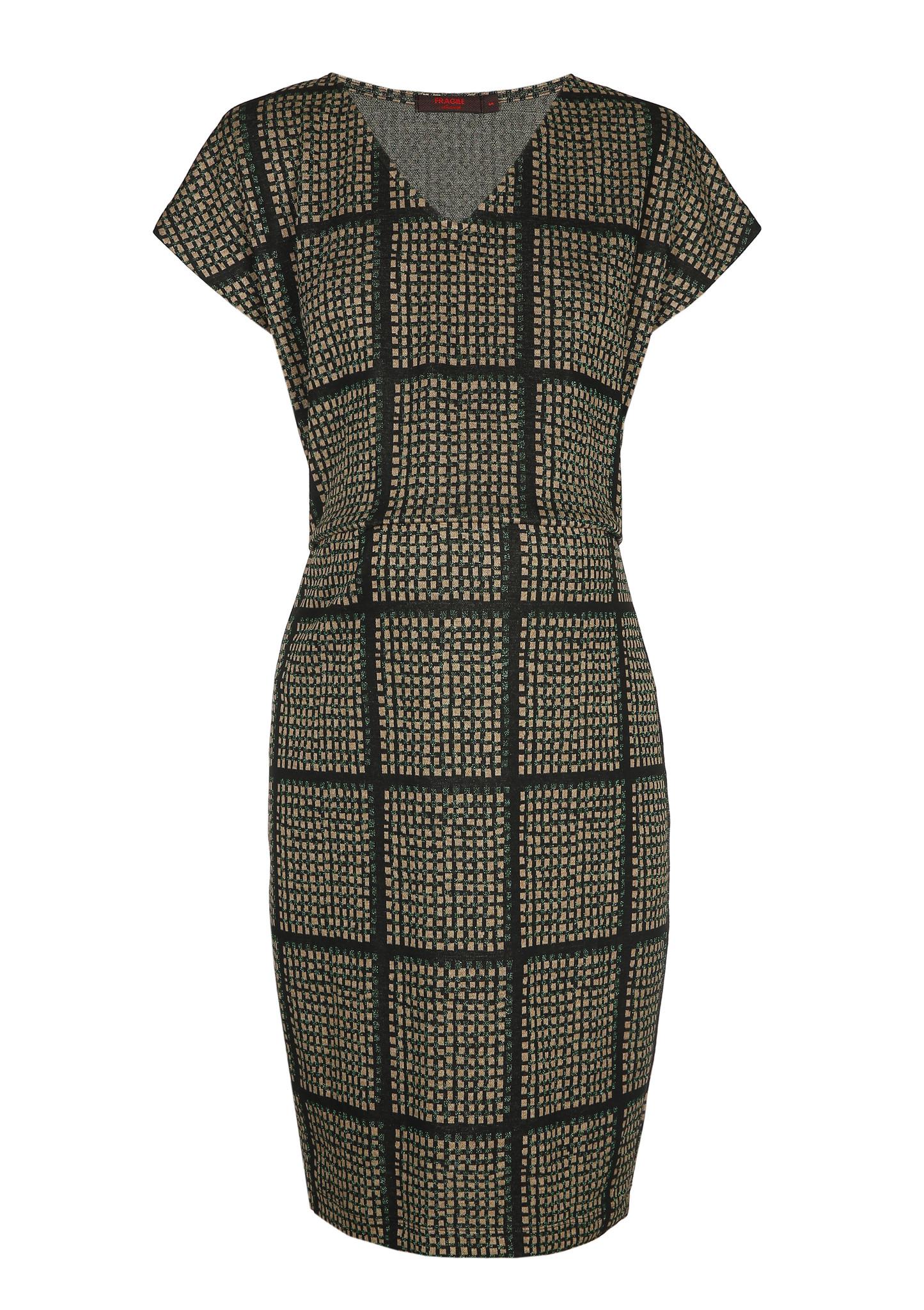 Blouson dress - black grid-2