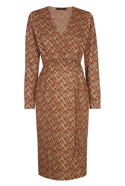 V-neck dress - rust zig zag