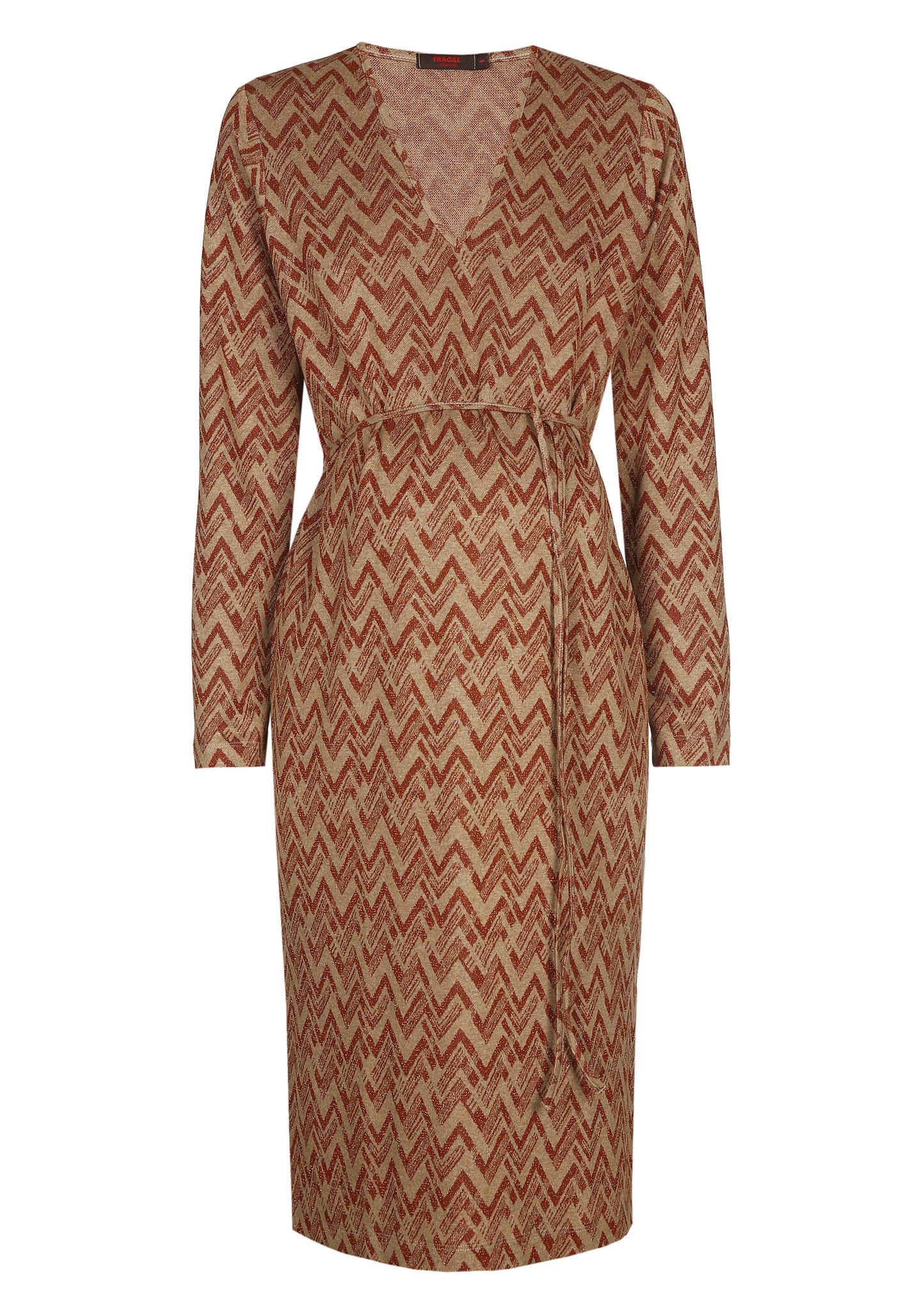 V-neck dress - rust zig zag-1