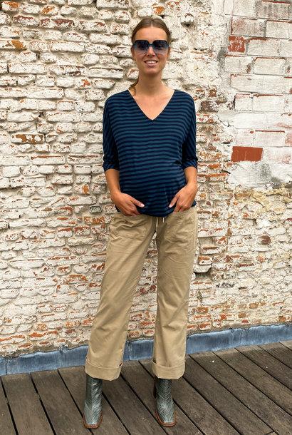 V-neck kimono sweater - petrol/navy stripes