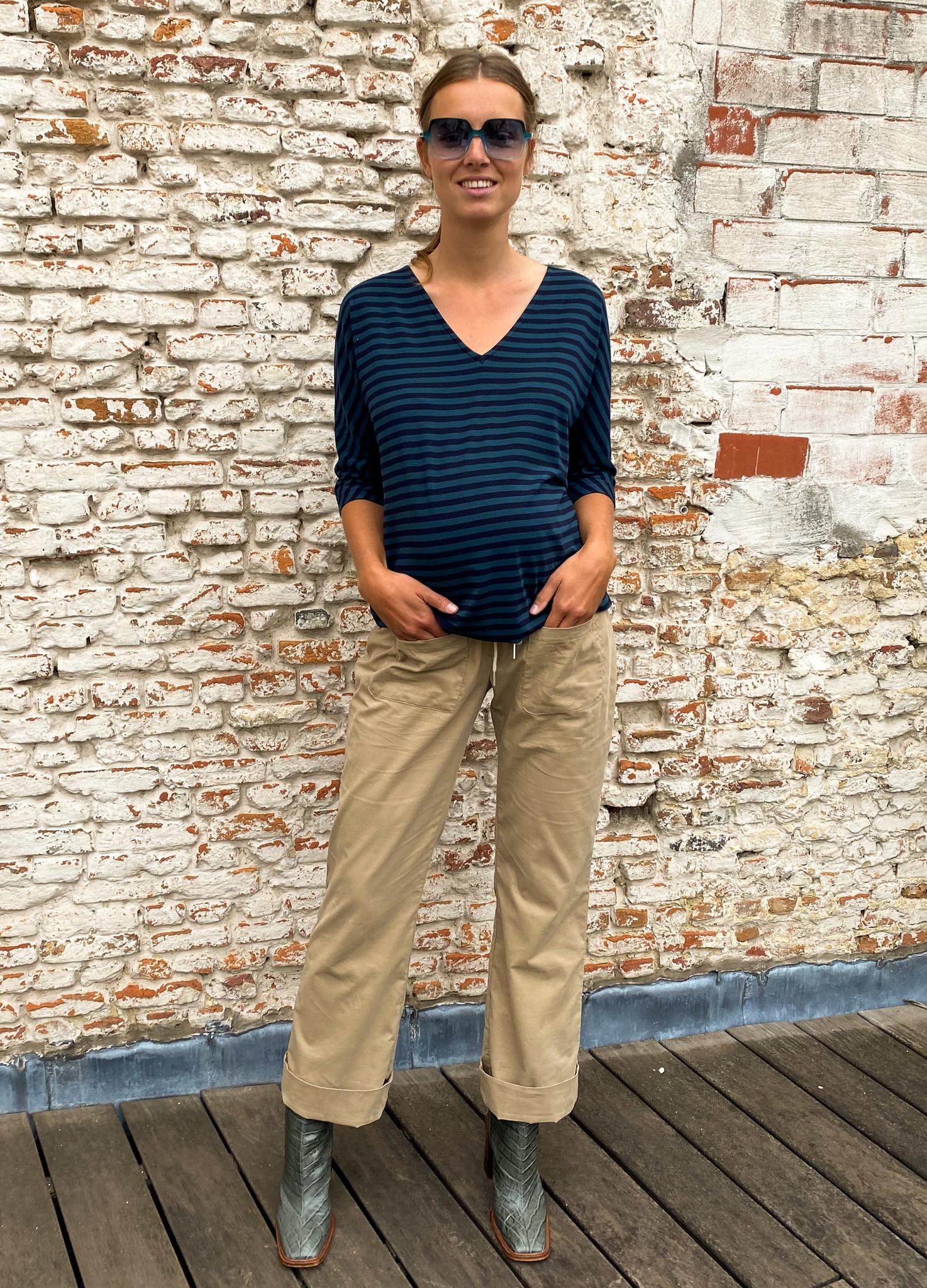 V-neck kimono sweater - petrol/navy stripes-1