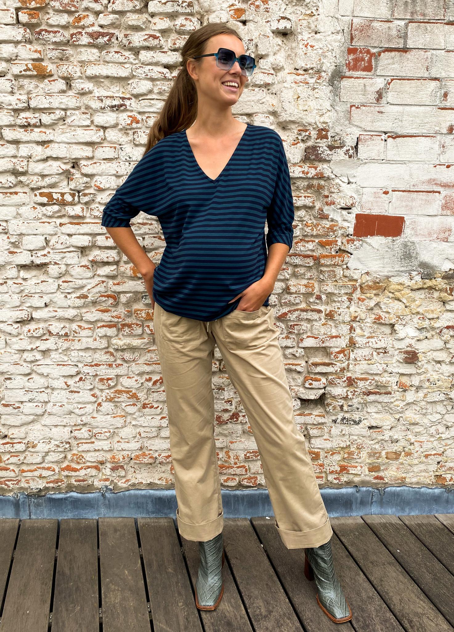 V-neck kimono sweater - petrol/navy stripes-3