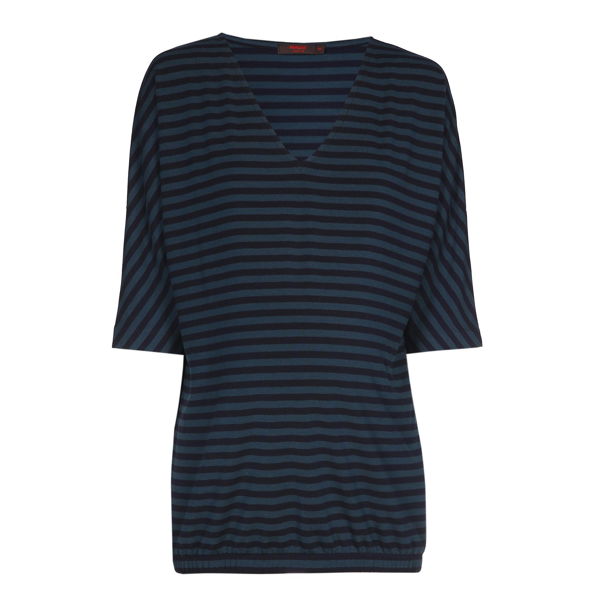 V-neck kimono sweater - petrol/navy stripes-2