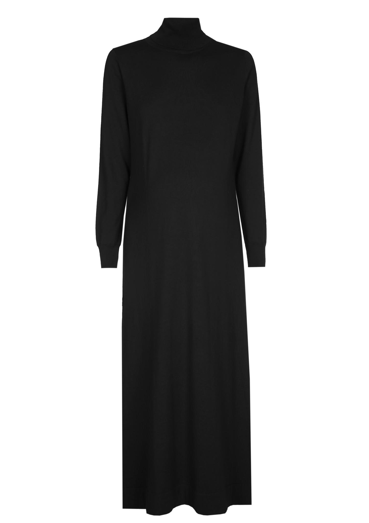 long knitted dress - black-2
