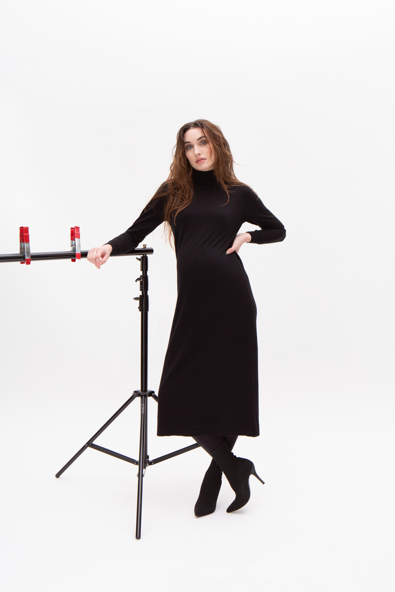 long knitted dress - black-1
