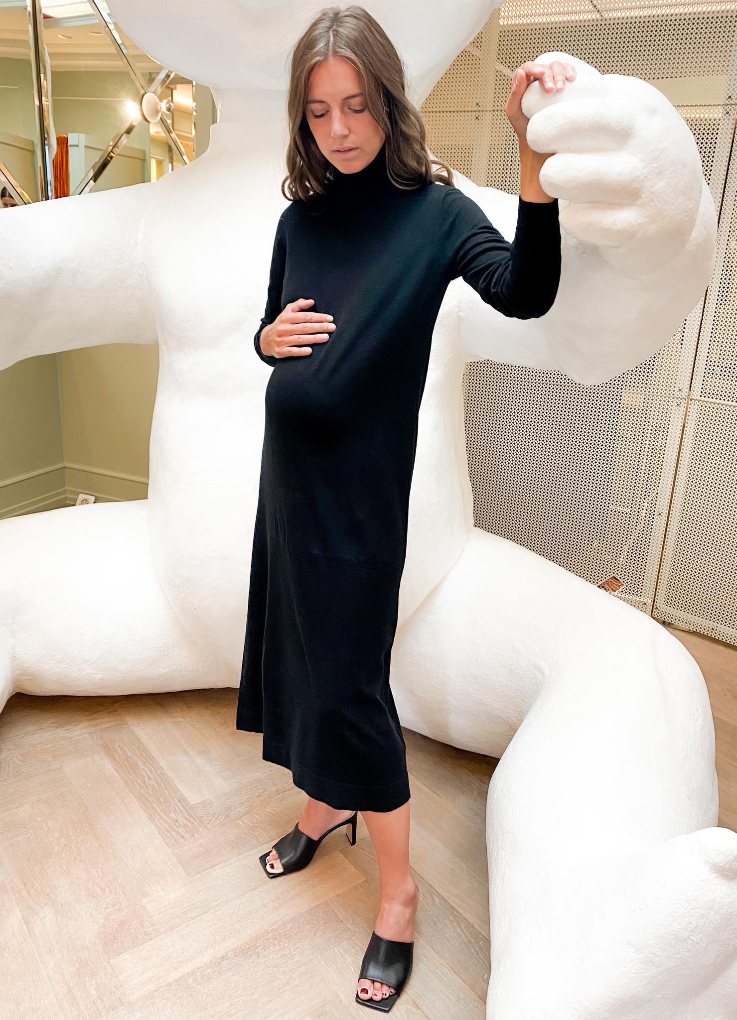 long knitted dress - black-3