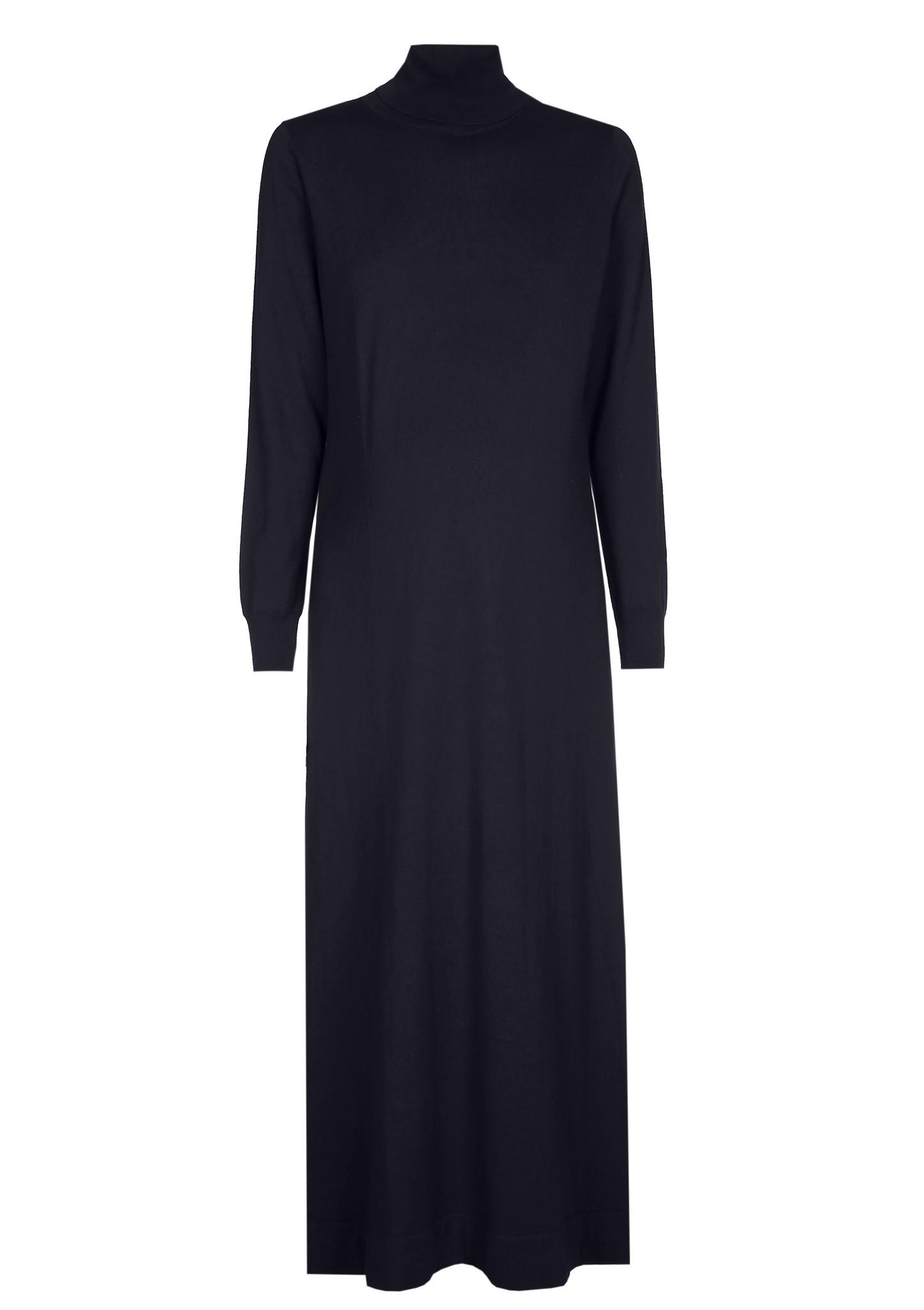 long knitted dress - dark navy-2
