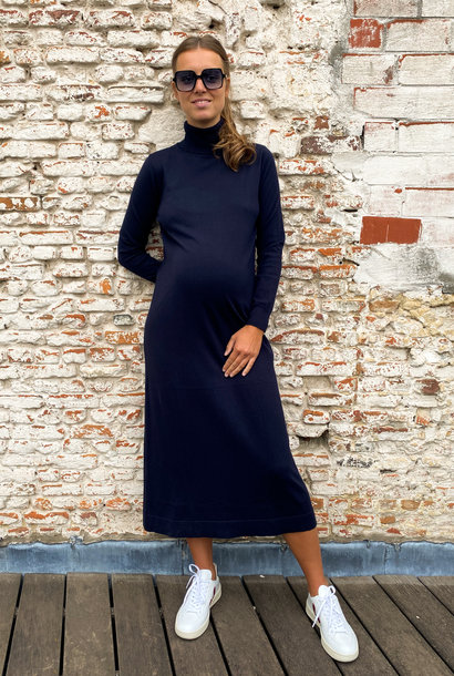 long knitted dress - dark navy