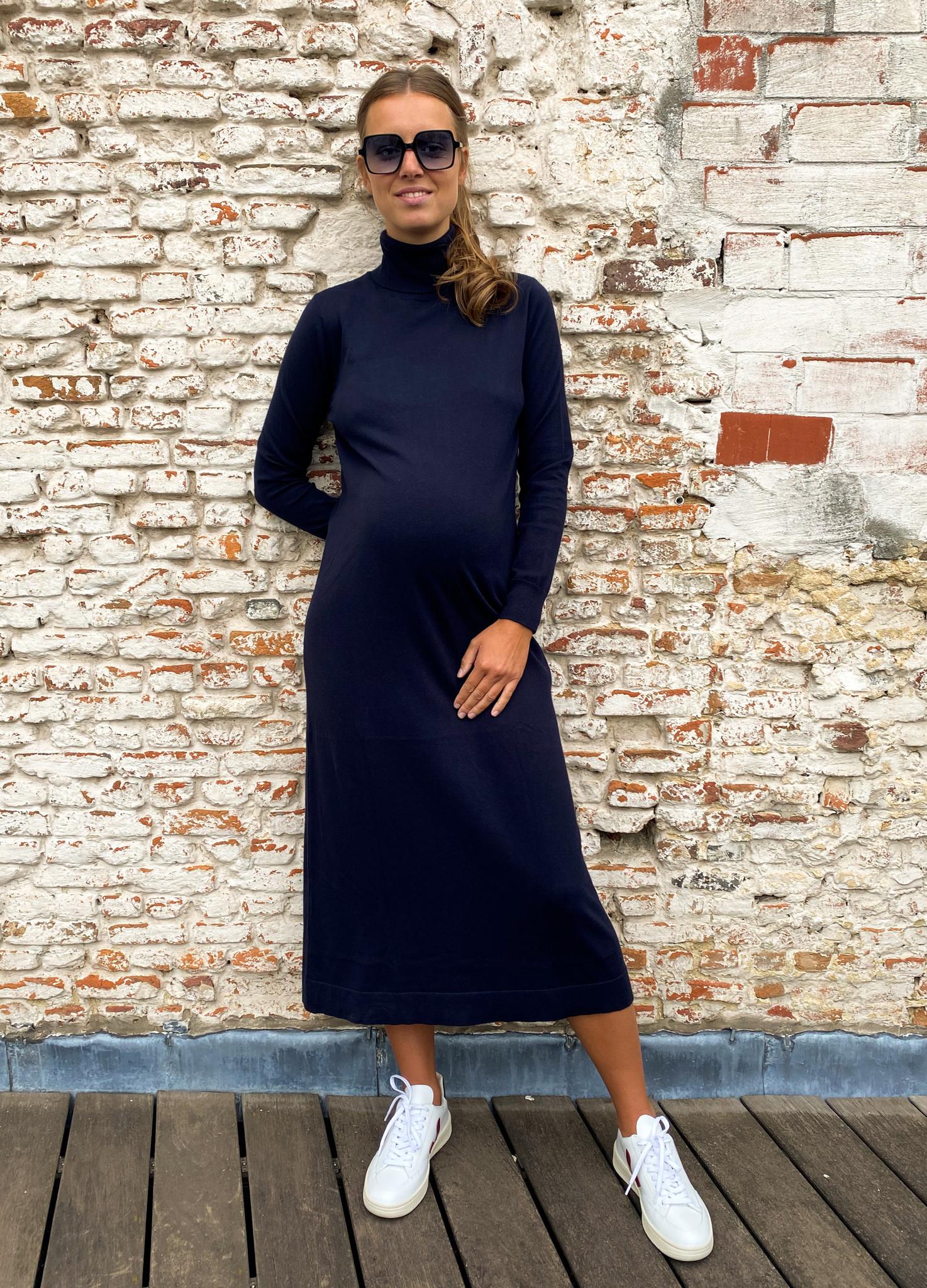 long knitted dress - dark navy-1