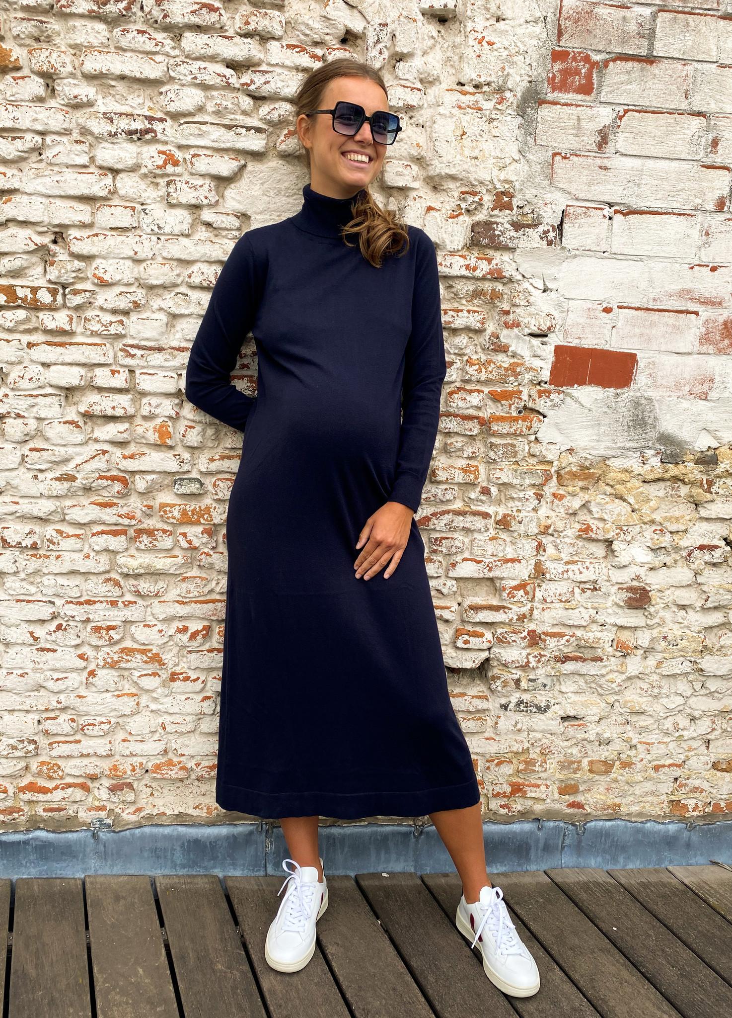 long knitted dress - dark navy-3