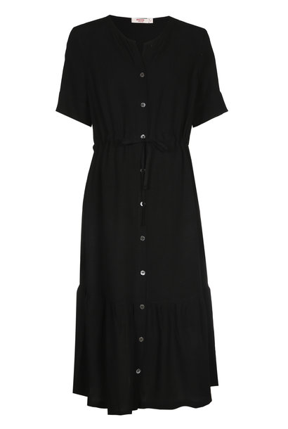 Ruffle dress - black light linen