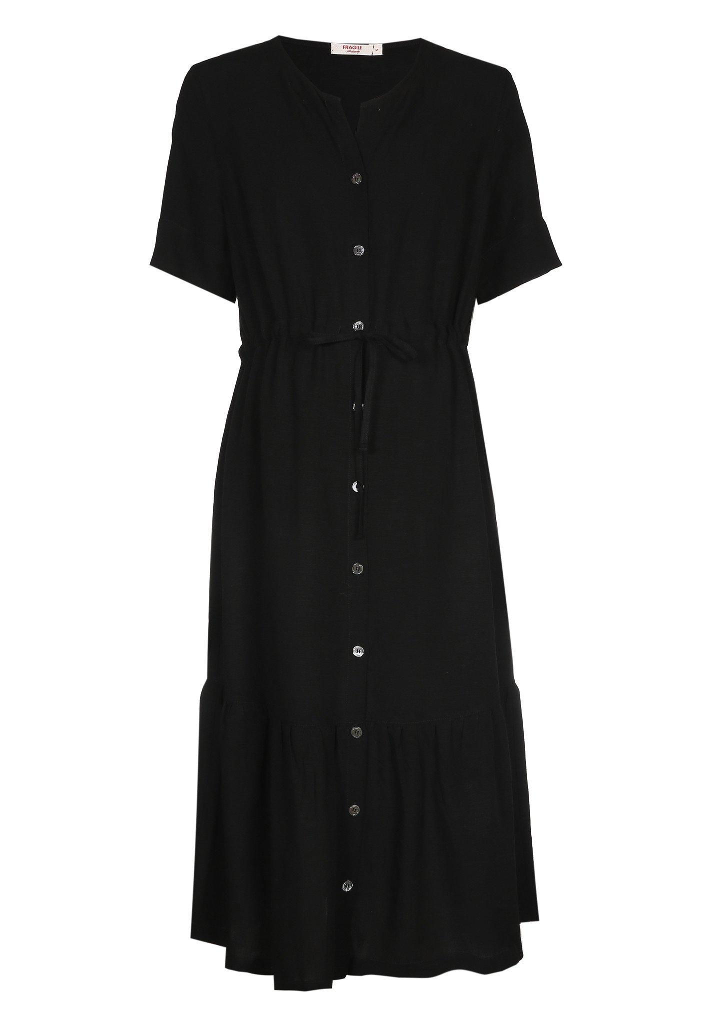 Ruffle dress - black light linen-1