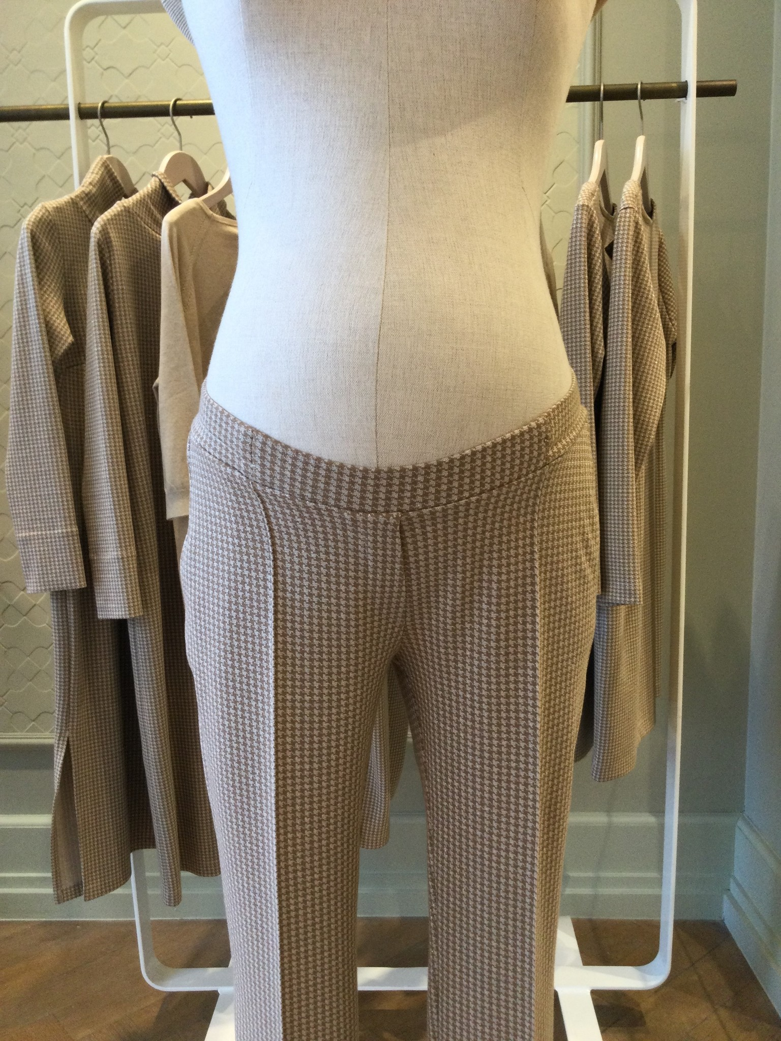 Easy trousers straight fit - cream pied de poule-2