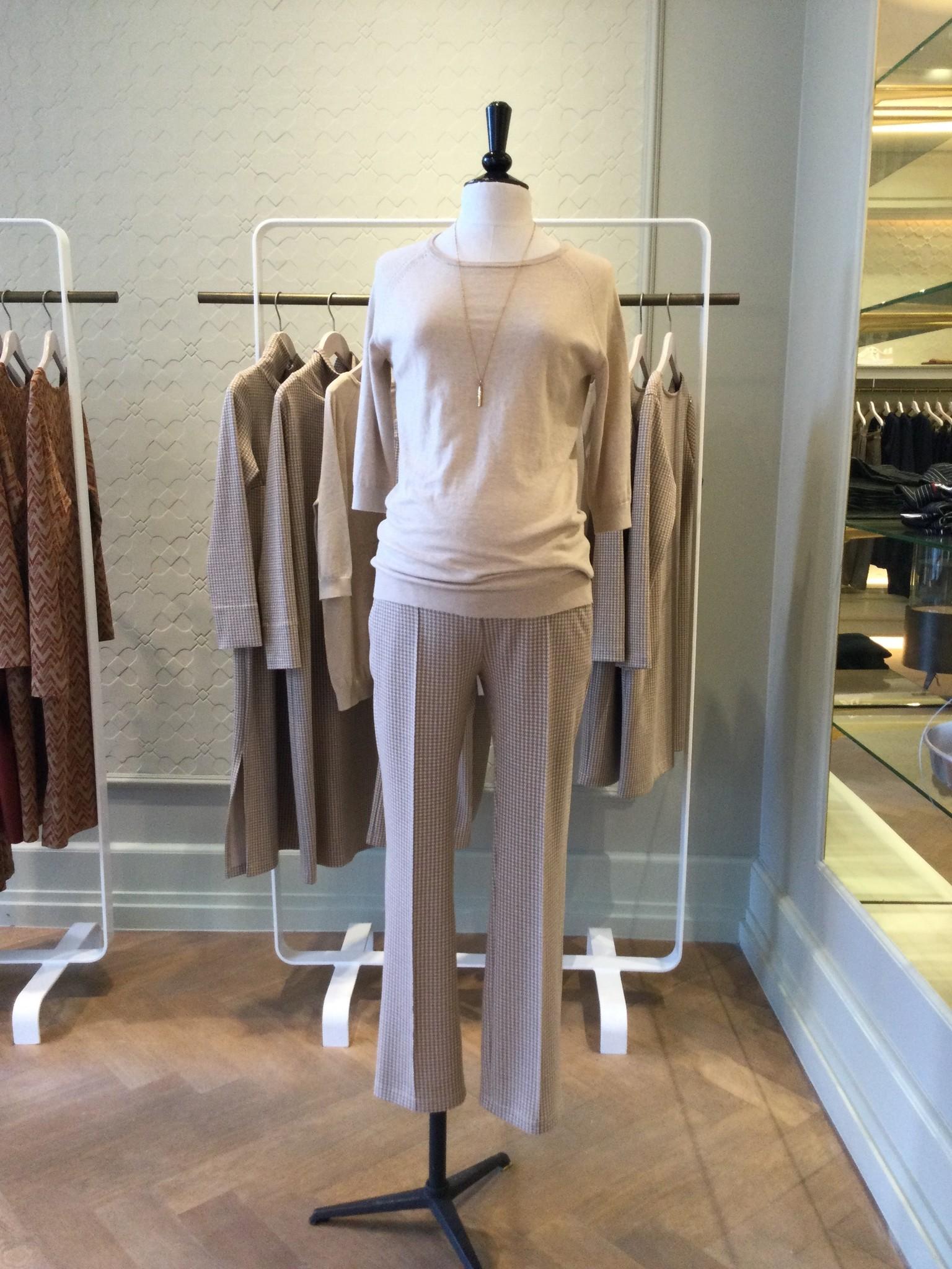 Easy trousers straight fit - cream pied de poule-1
