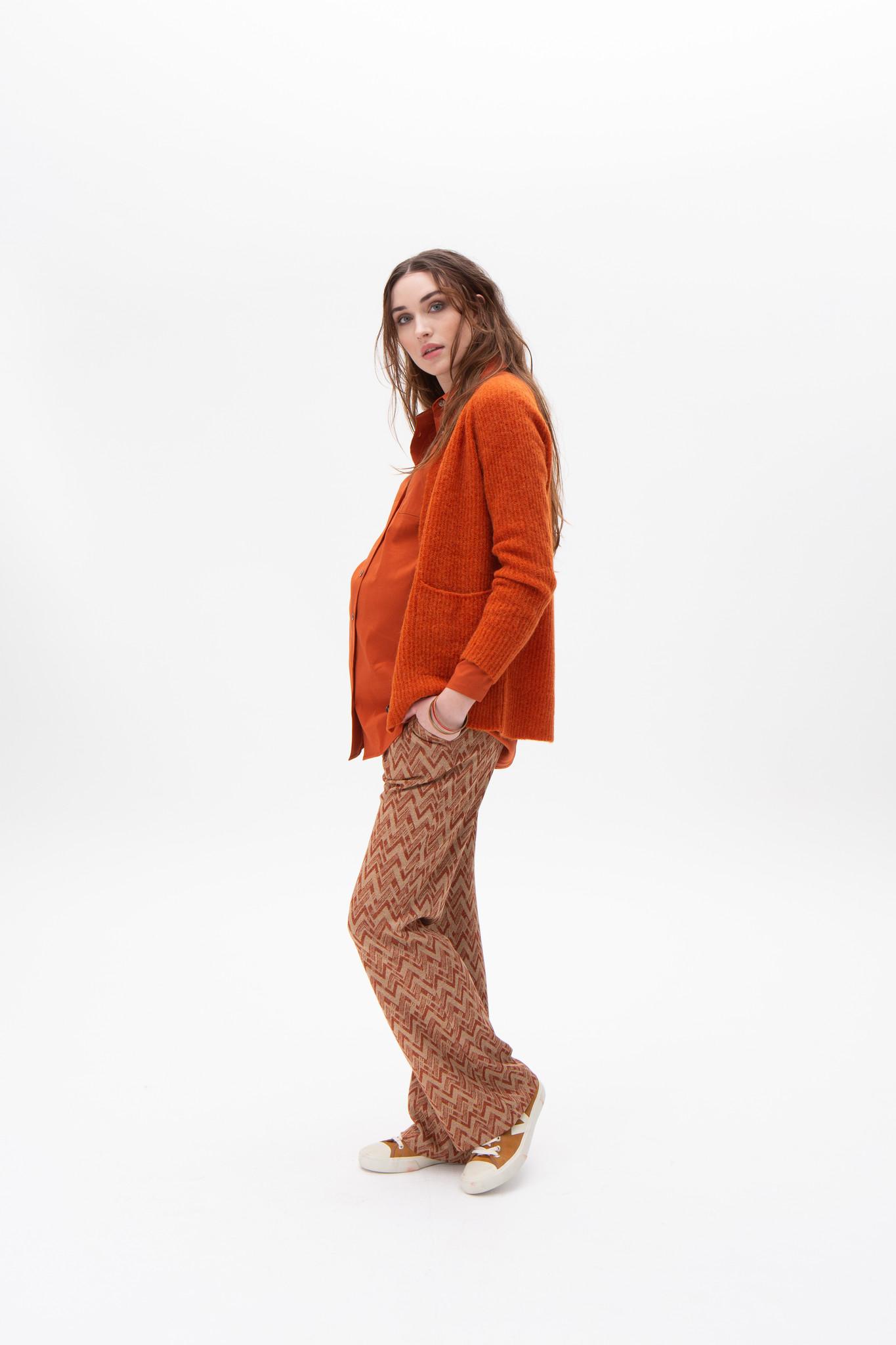 Seventies trousers - Rust zig zag-1