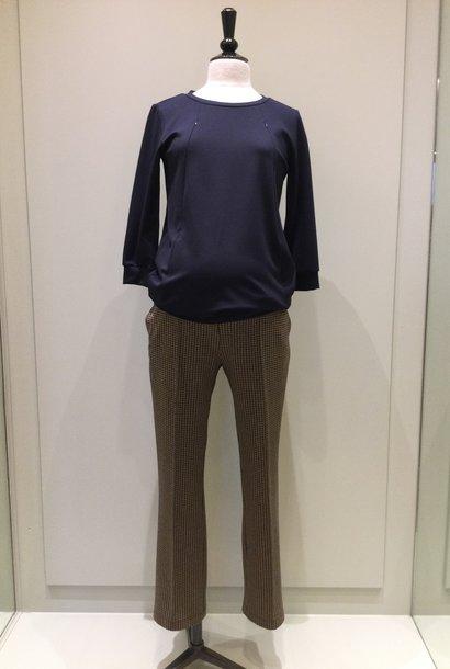 Easy trousers straight fit - black pied de poule