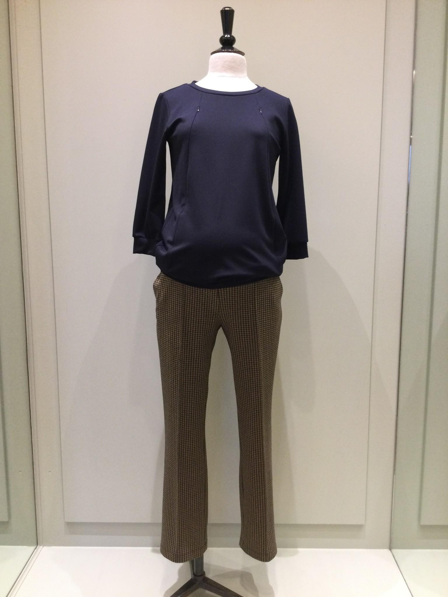 Easy trousers straight fit - black pied de poule-1