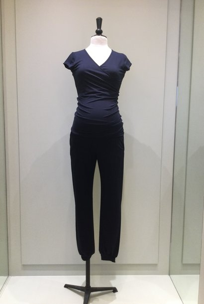 Jersey puff trousers - navy