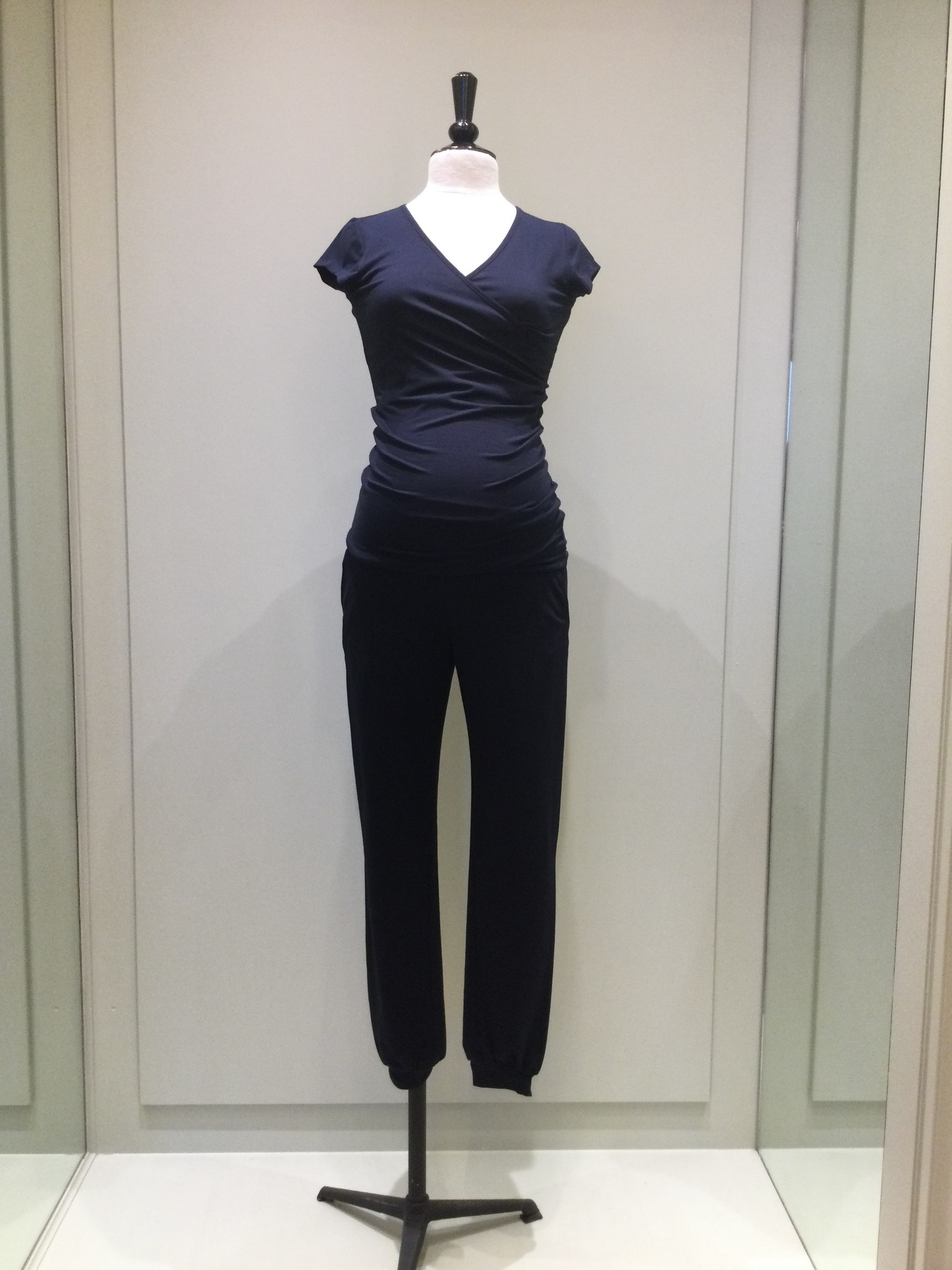 Jersey puff trousers - navy-1