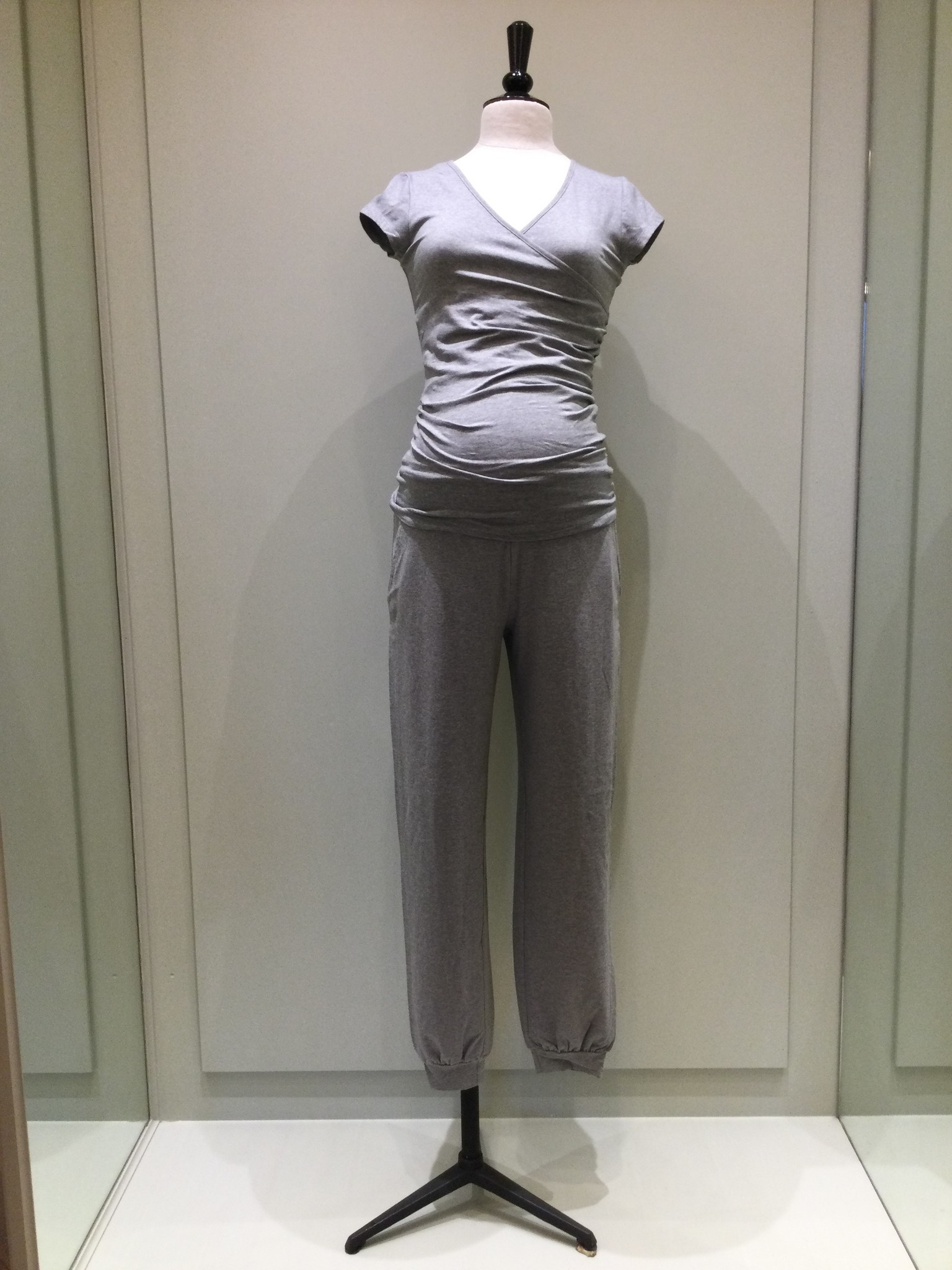 Jersey puff trousers - grey melange-1