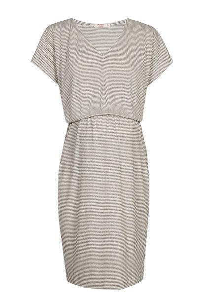 Blouson Dress Ecru Stripes