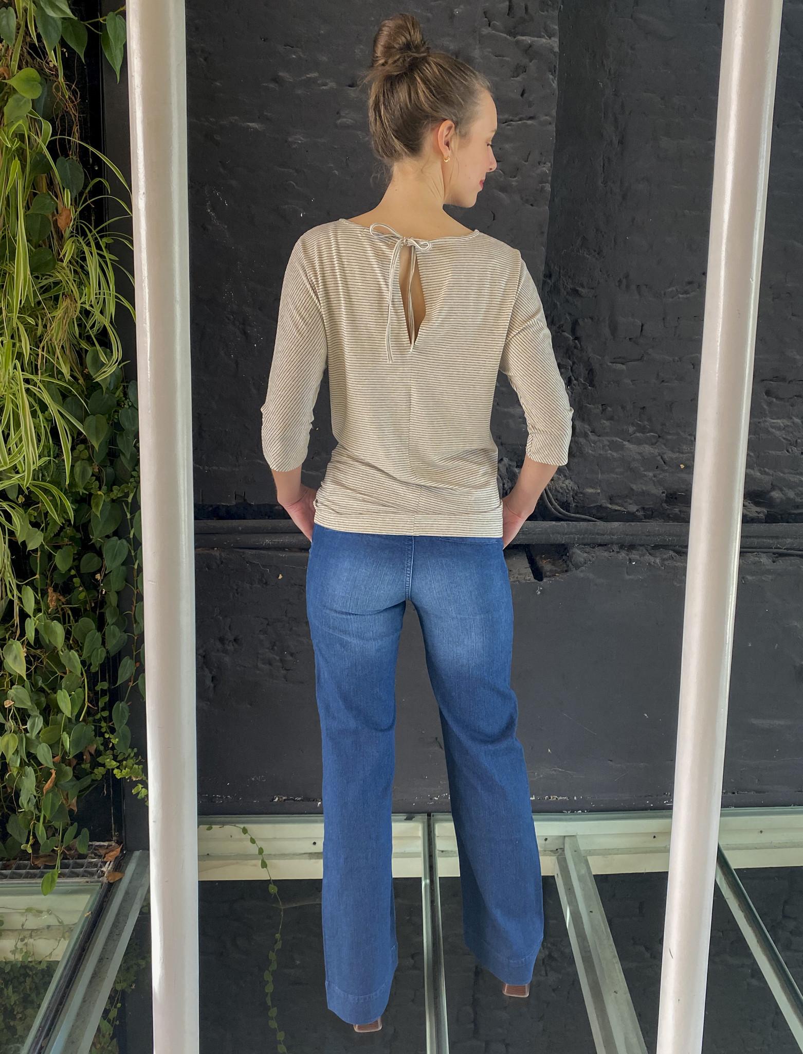 Tied Back T-Shirt Ecru Stripes-5
