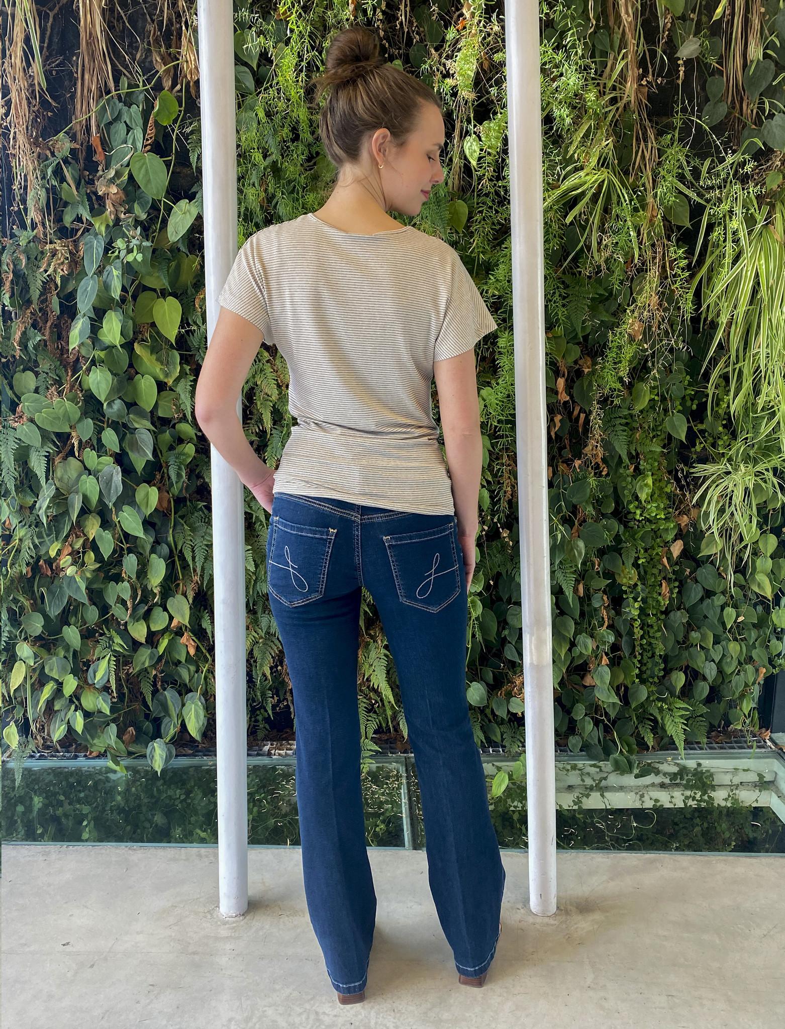 Side Knotted Shirt Ecru Stripes-4