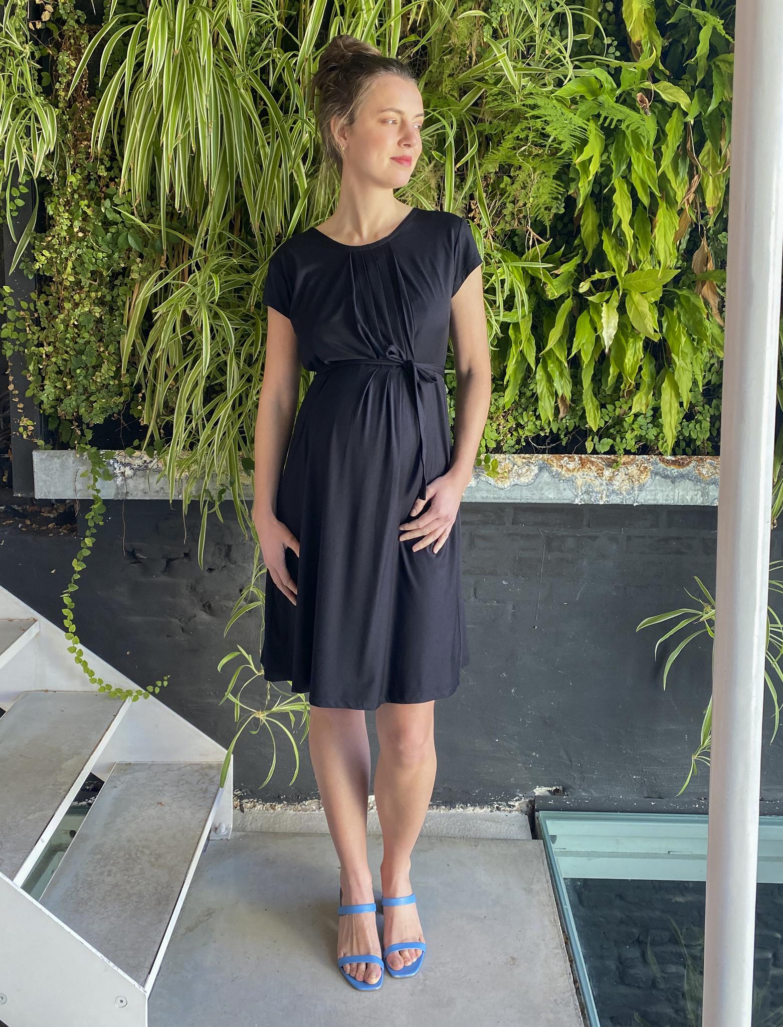 Pleated Dress Black-2