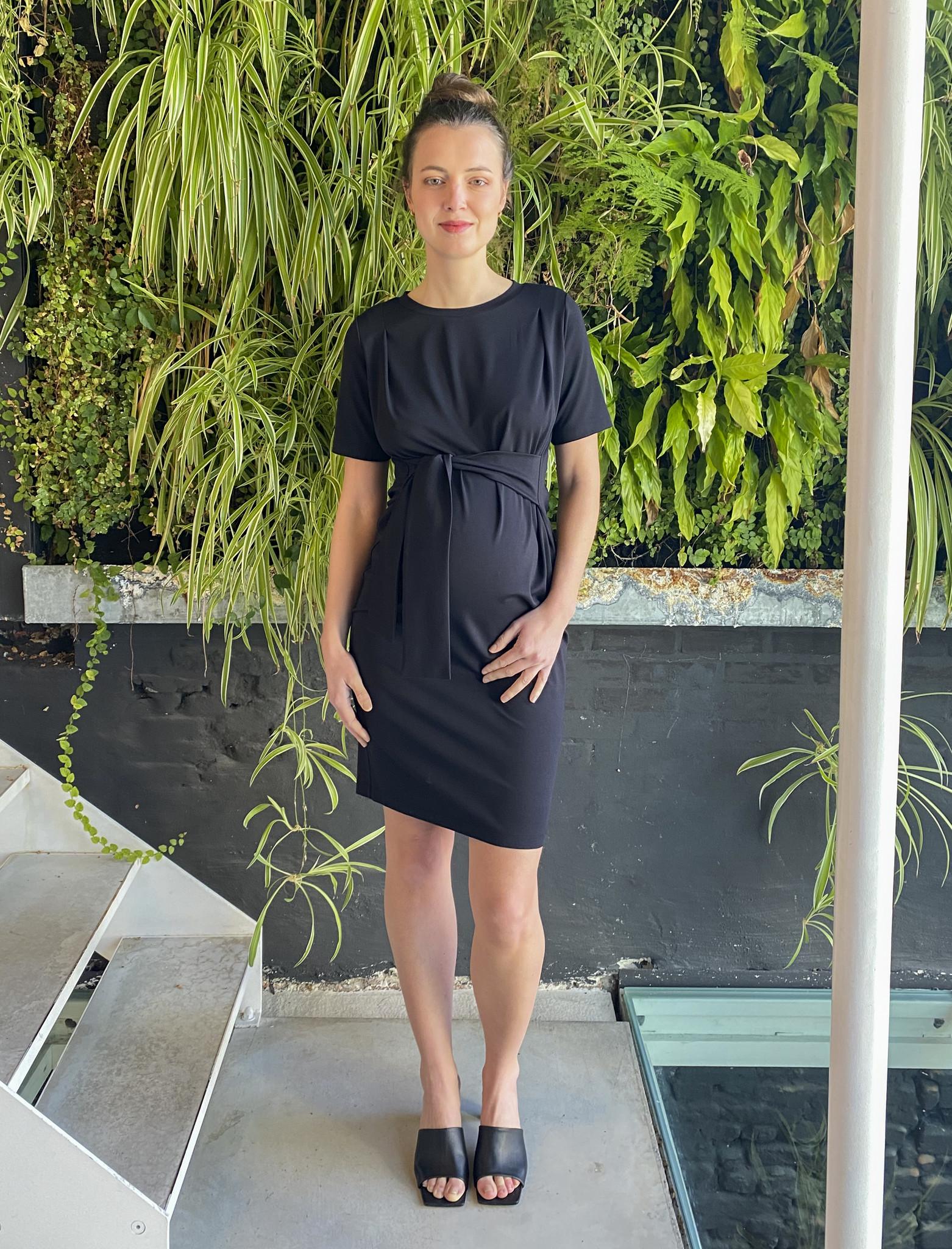 Belt Dress Short Sleeves Black-1