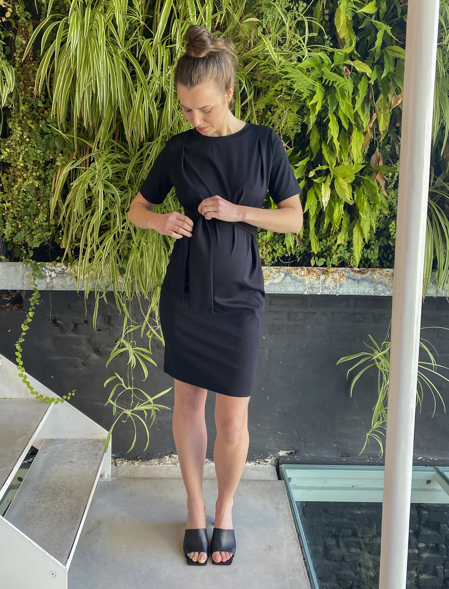Belt Dress Short Sleeves Black-2