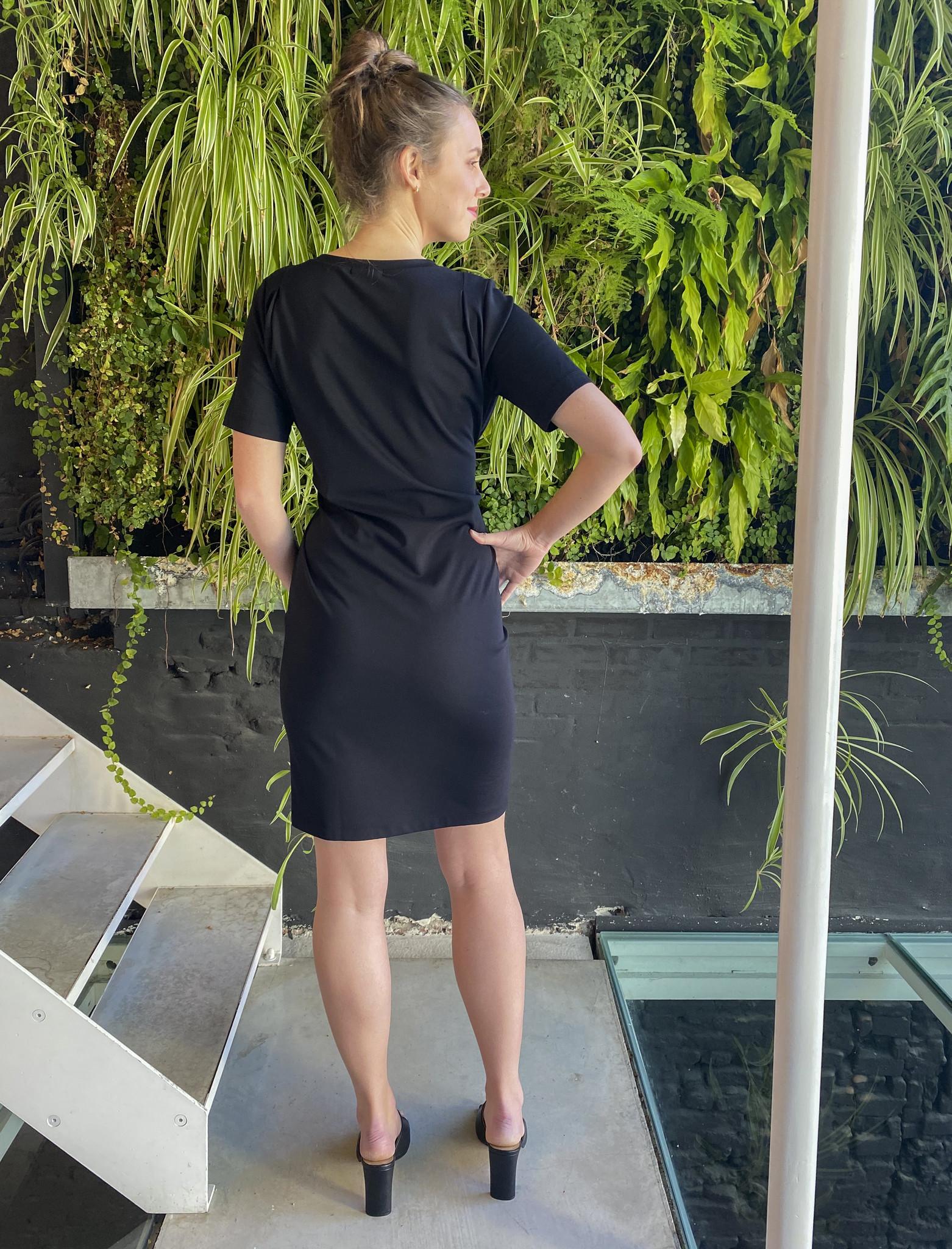 Belt Dress Short Sleeves Black-4