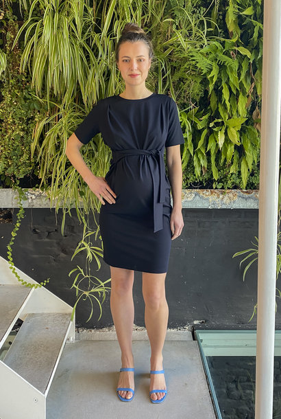 Belt Dress Short Sleeves Navy