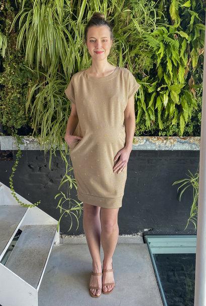Low Waist Dress Beige Dots