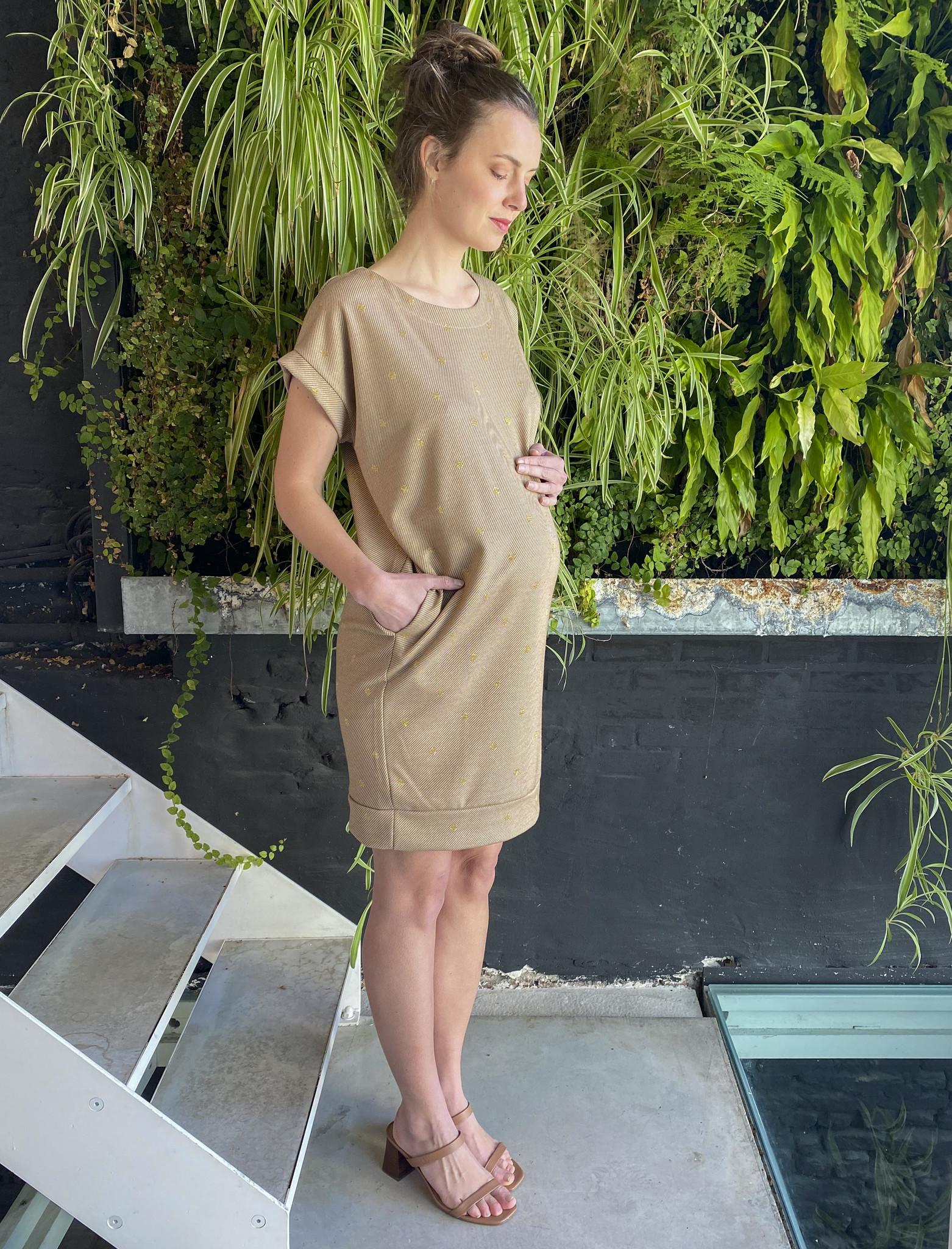 Low Waist Dress Beige Dots-3