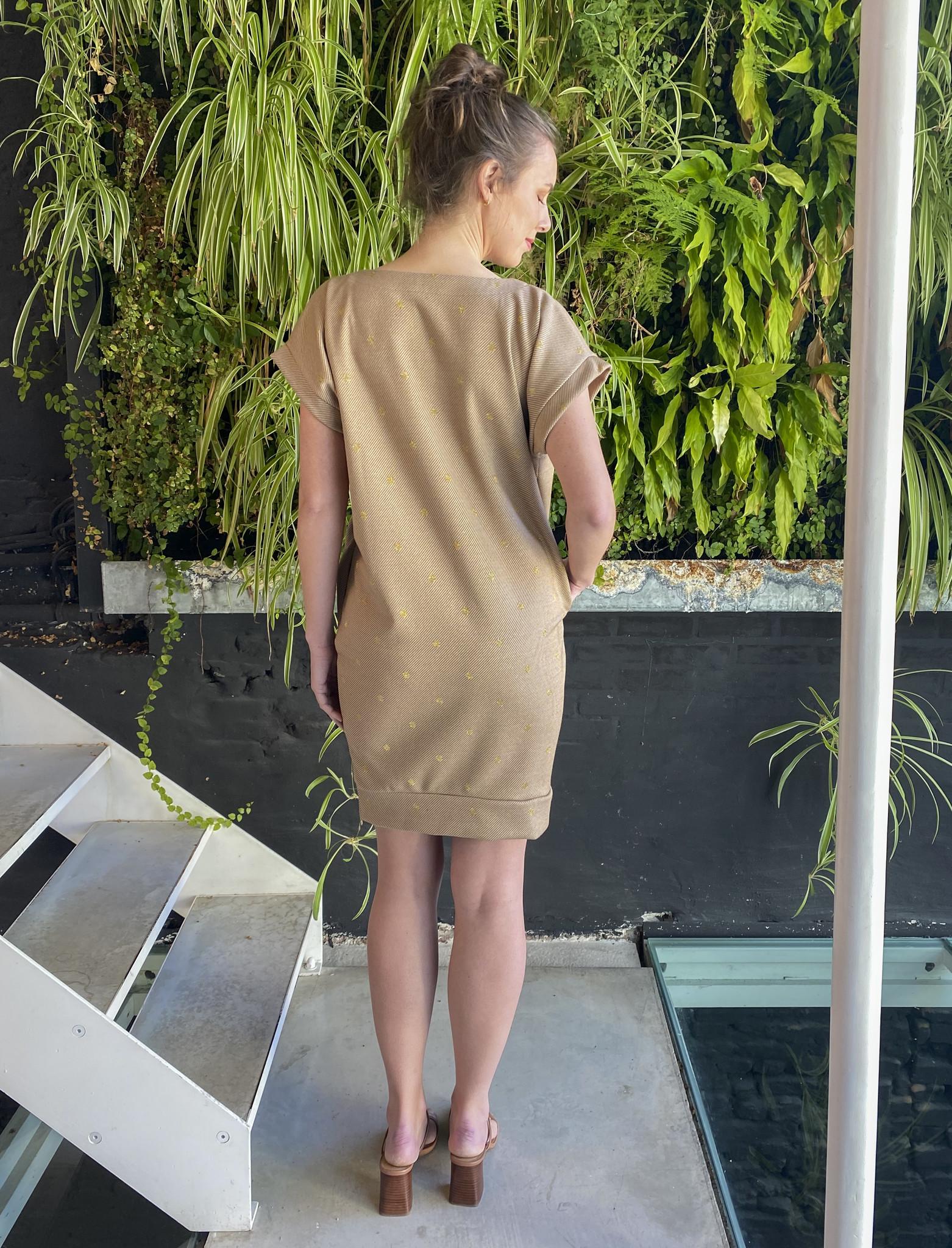 Low Waist Dress Beige Dots-4