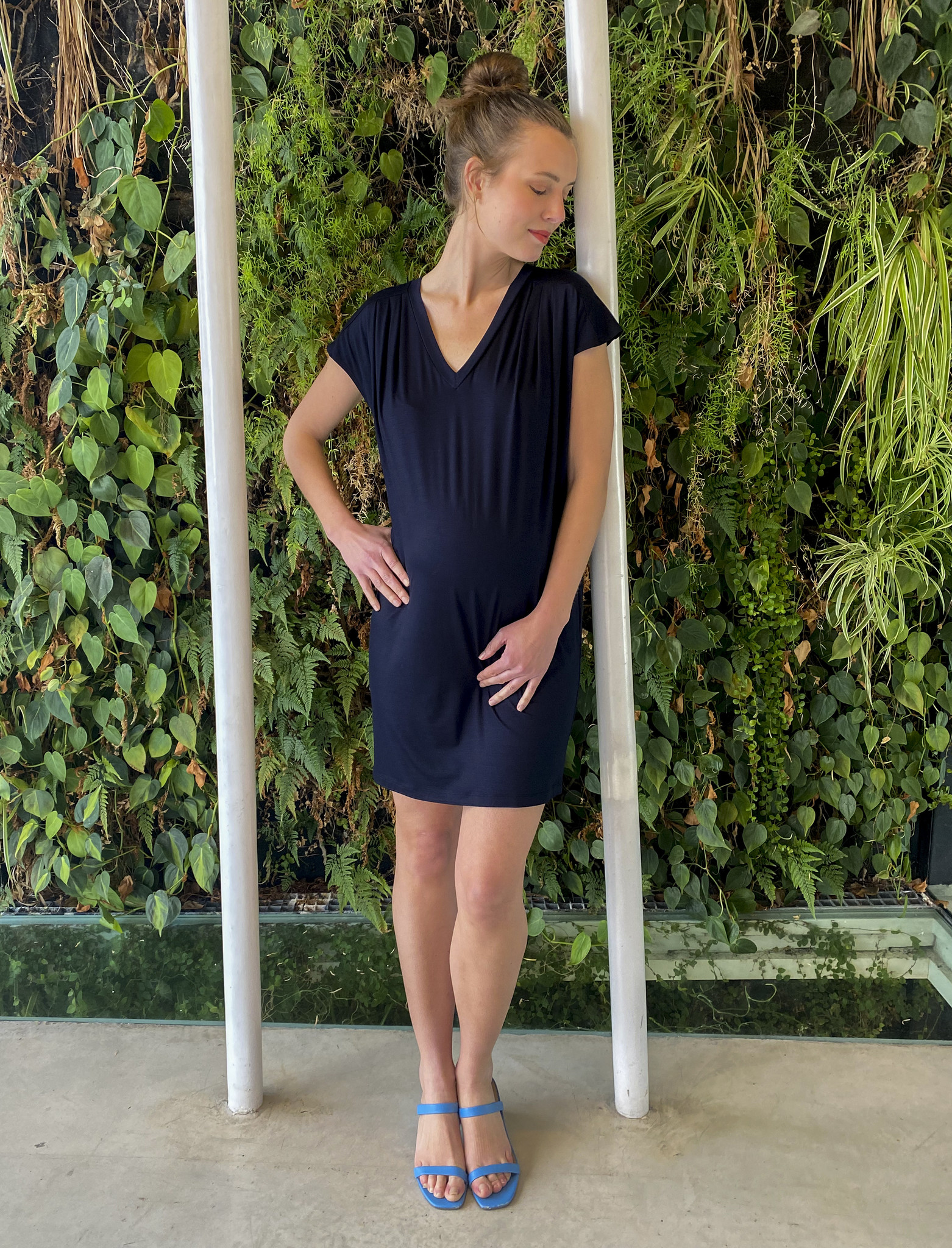 Pleated Shoulder Tunic Navy-1
