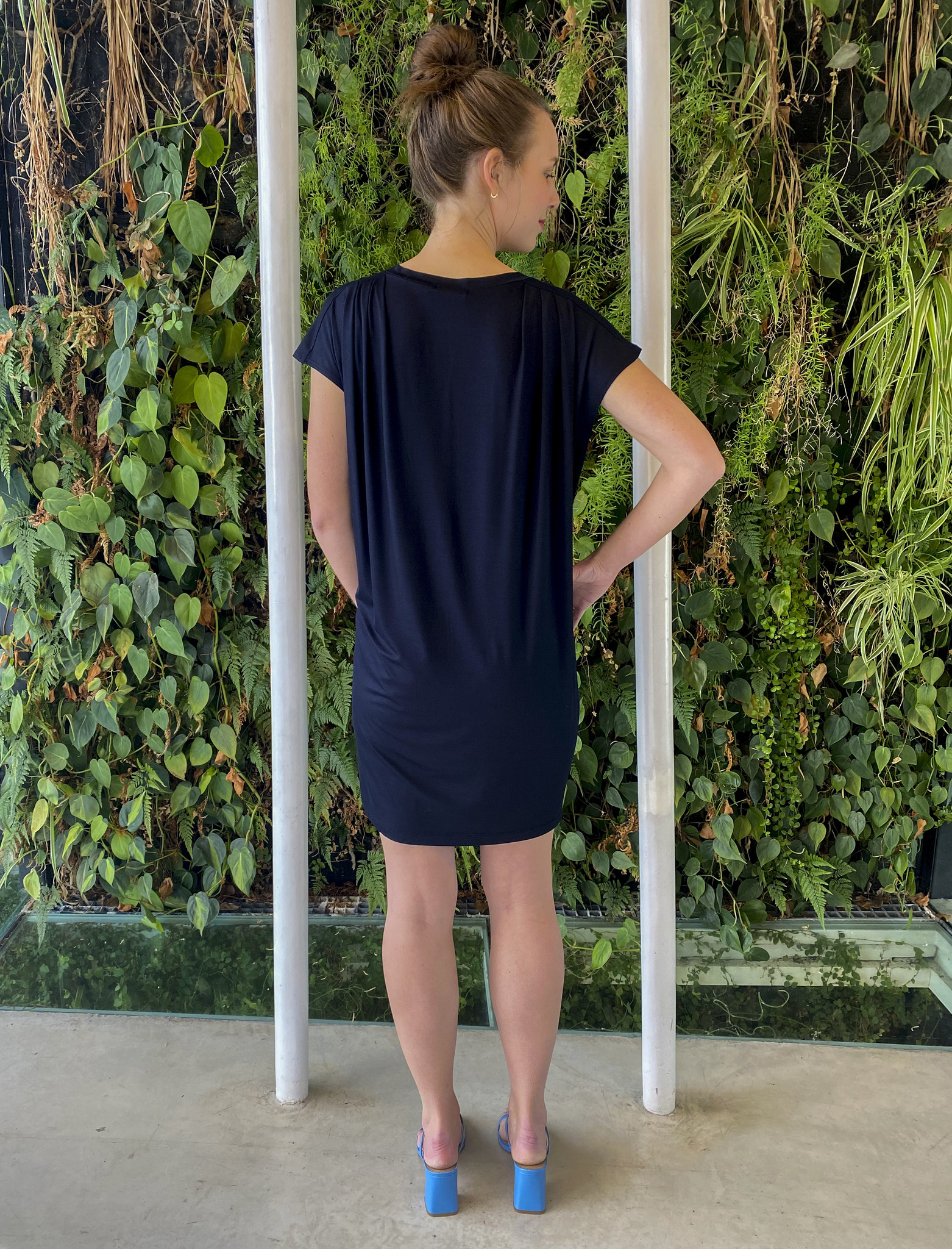Pleated Shoulder Tunic Navy-3