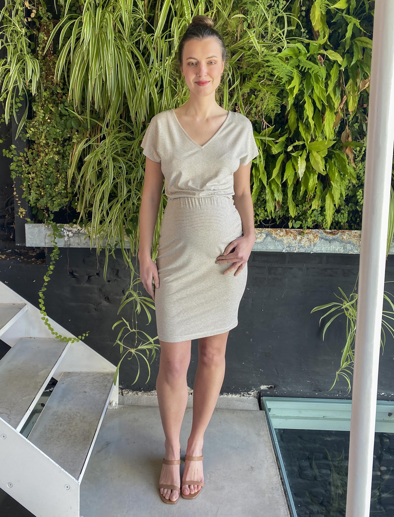 Blouson Dress Ecru Stripes-5