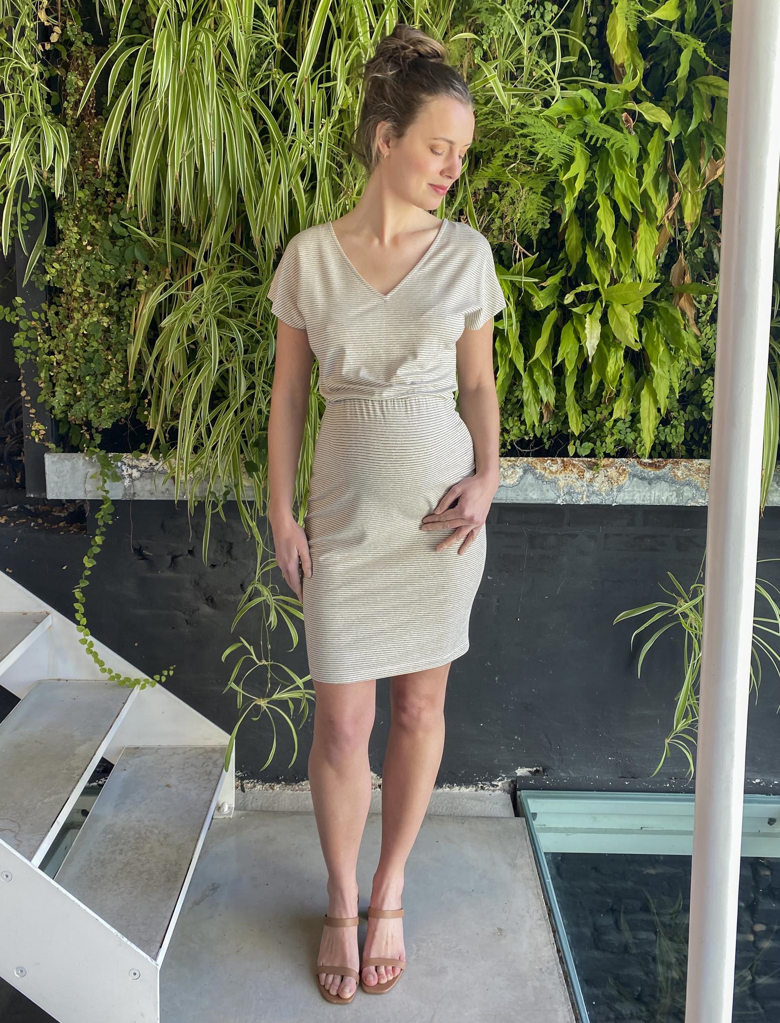 Blouson Dress Ecru Stripes-1