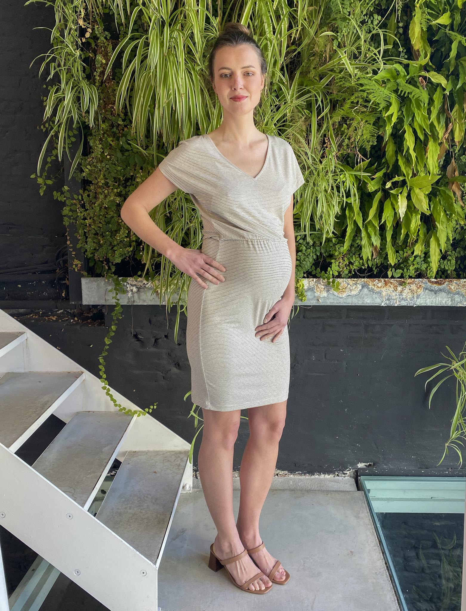 Blouson Dress Ecru Stripes-2