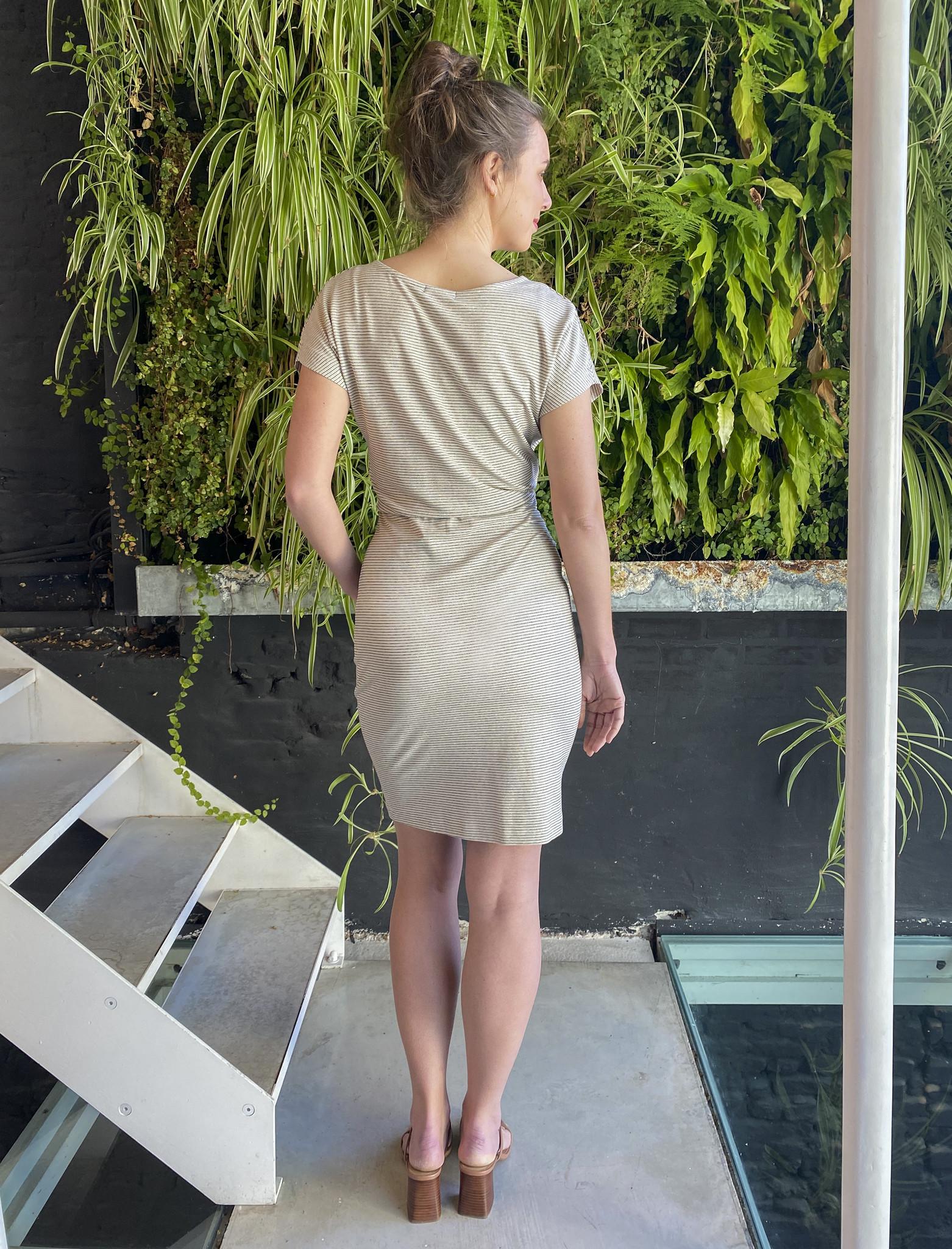 Blouson Dress Ecru Stripes-3