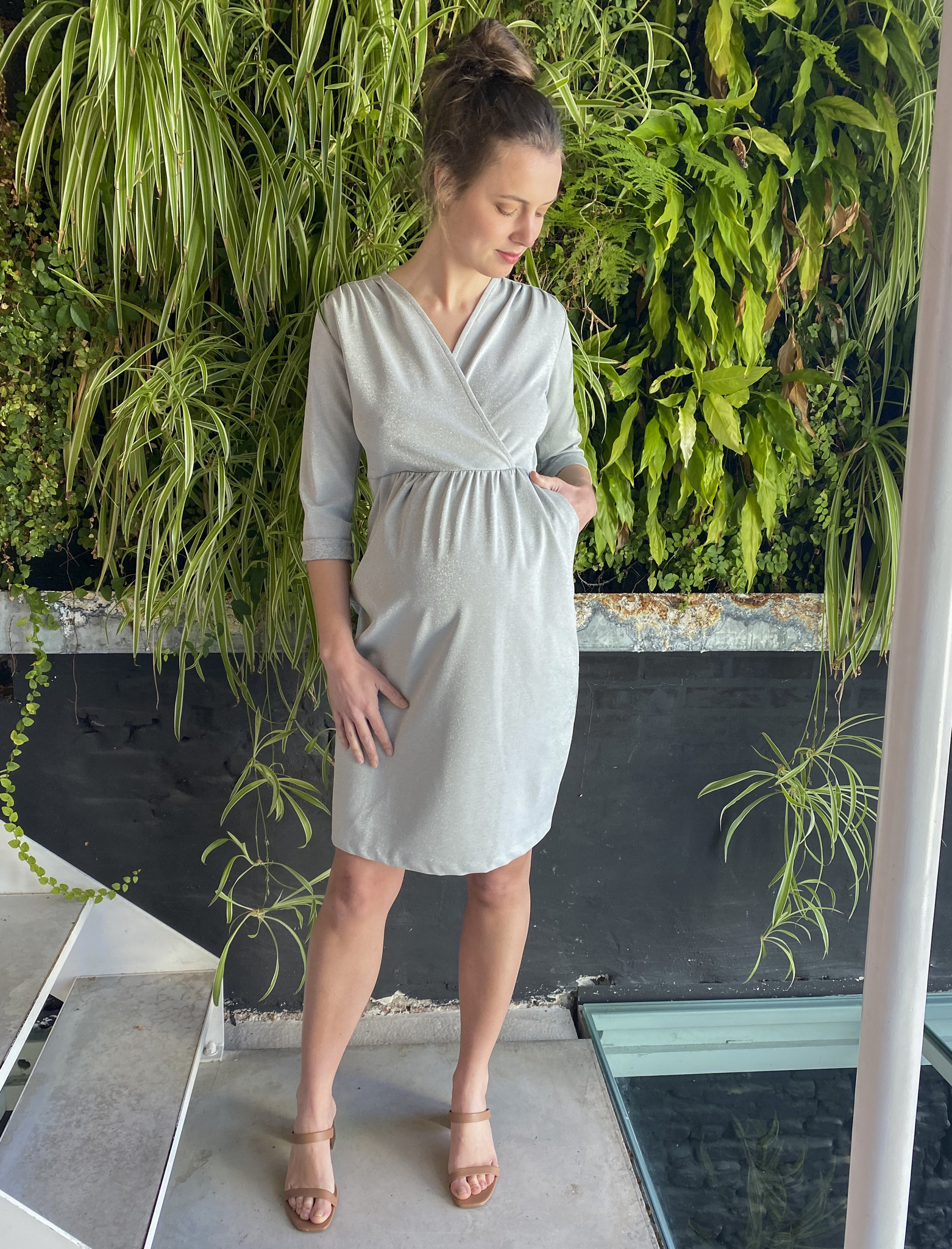 Comfy Dress 7/8 Sleeves Silver Sparkle-1