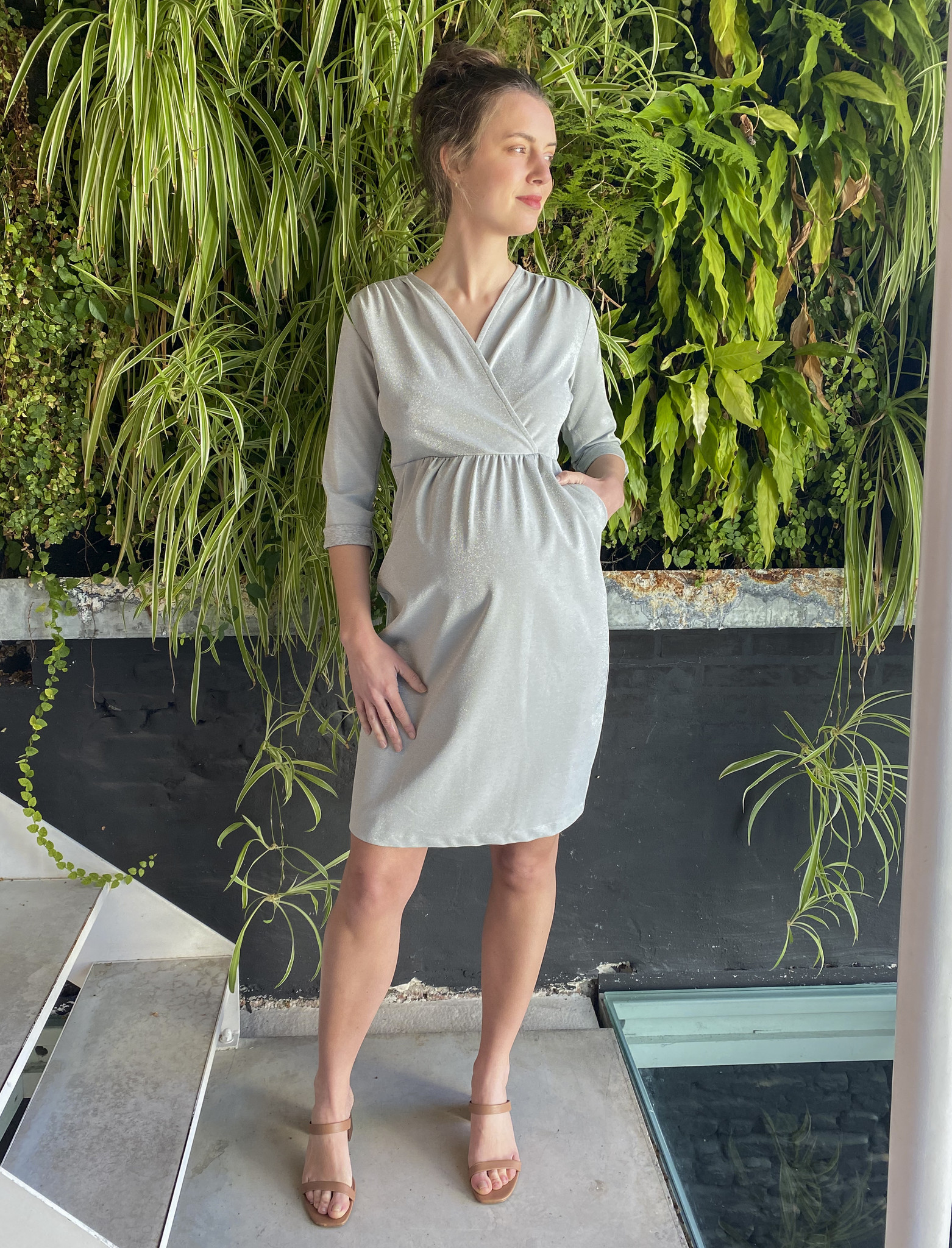Comfy Dress 7/8 Sleeves Silver Sparkle-2