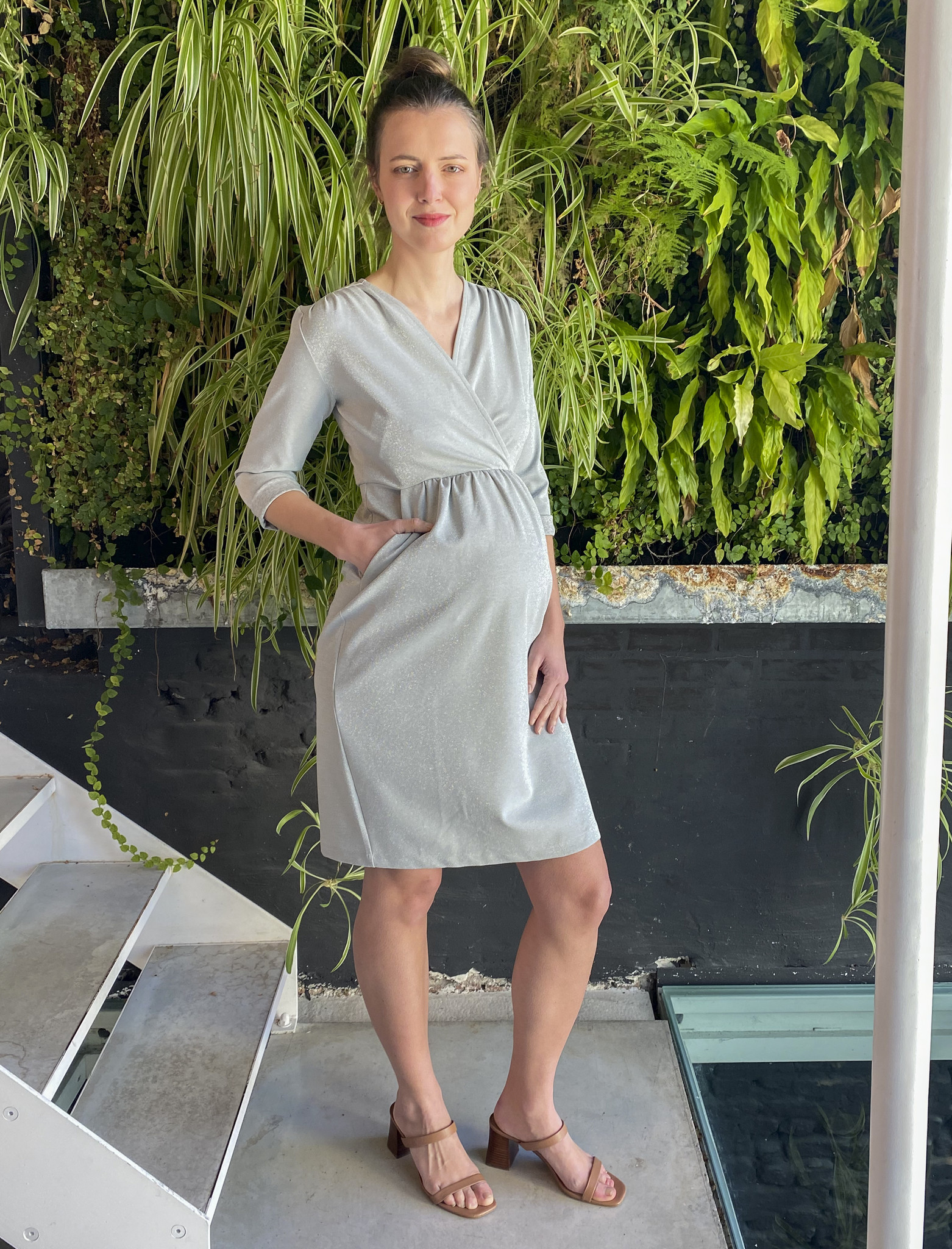 Comfy Dress 7/8 Sleeves Silver Sparkle-3