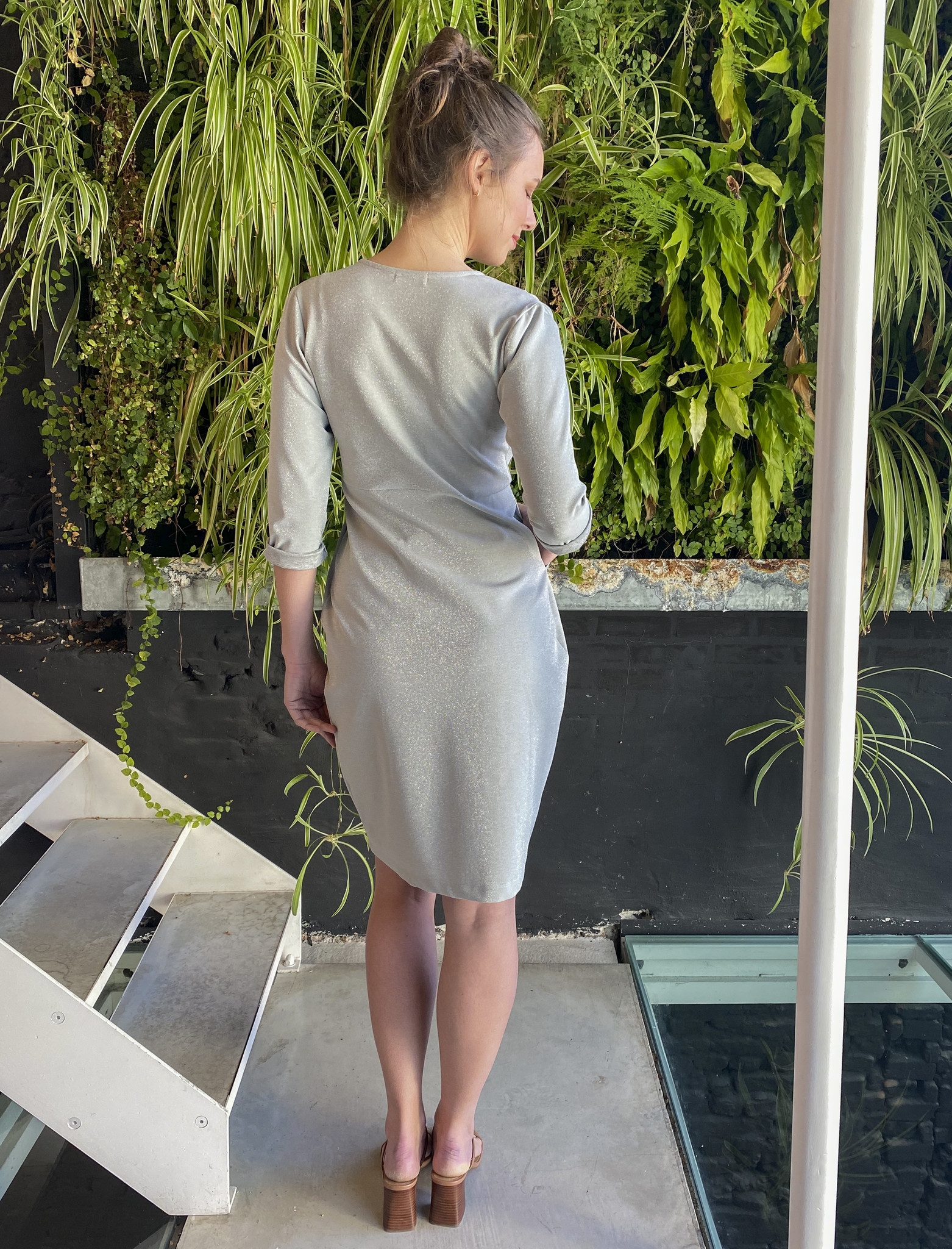 Comfy Dress 7/8 Sleeves Silver Sparkle-4