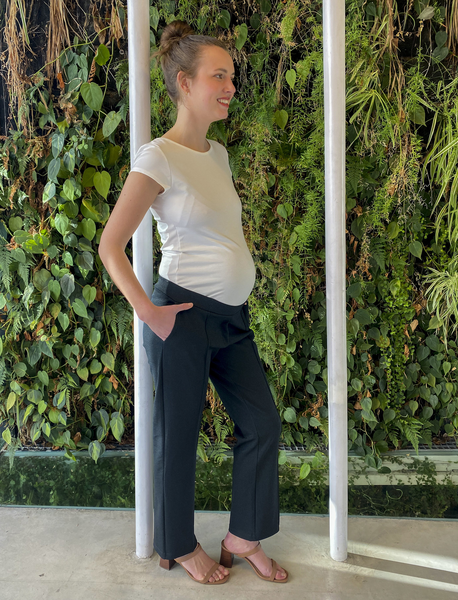 Easy Trousers Straight Fit Dark Green Sparkle-2